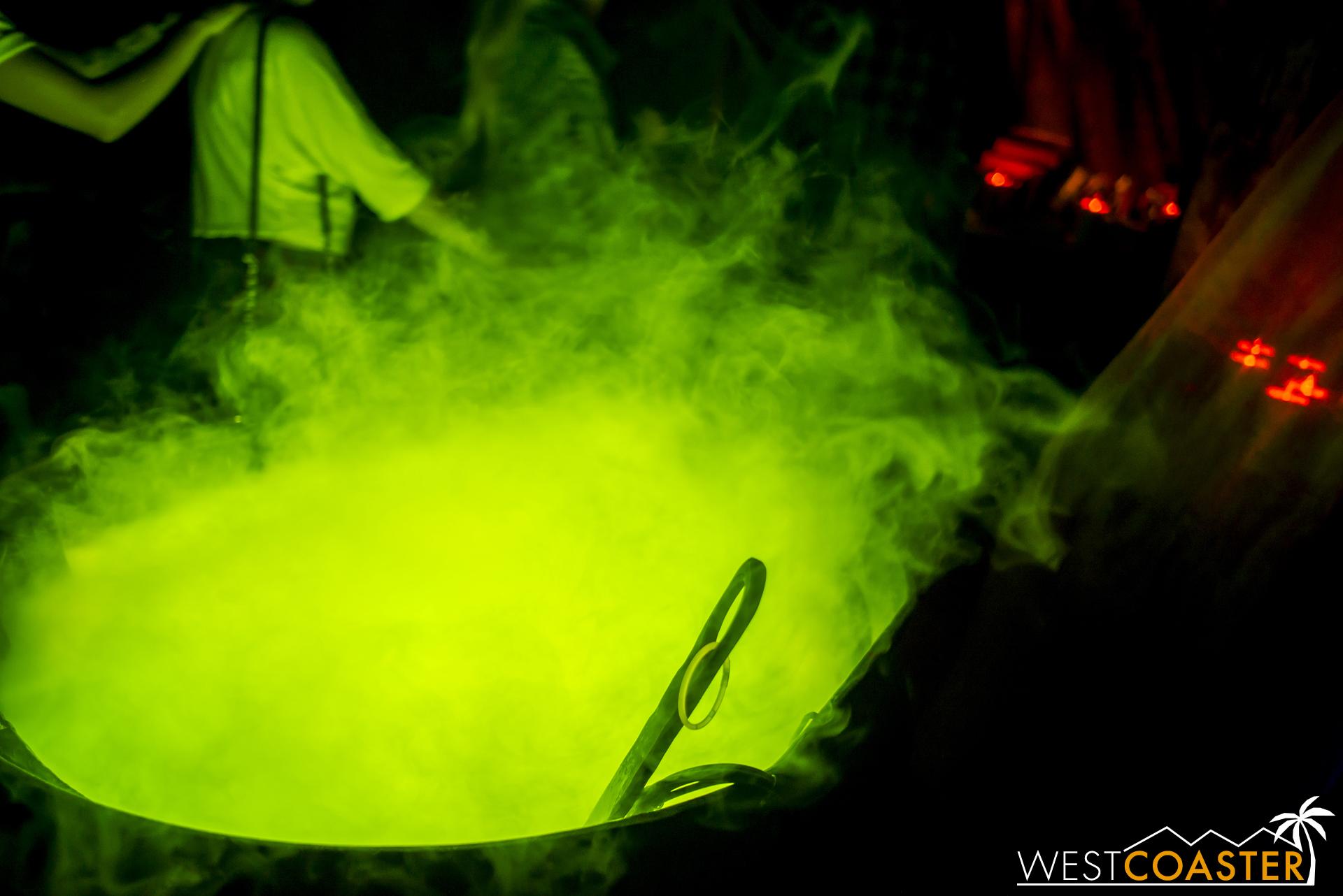 A bubbling cauldron awaits next door.