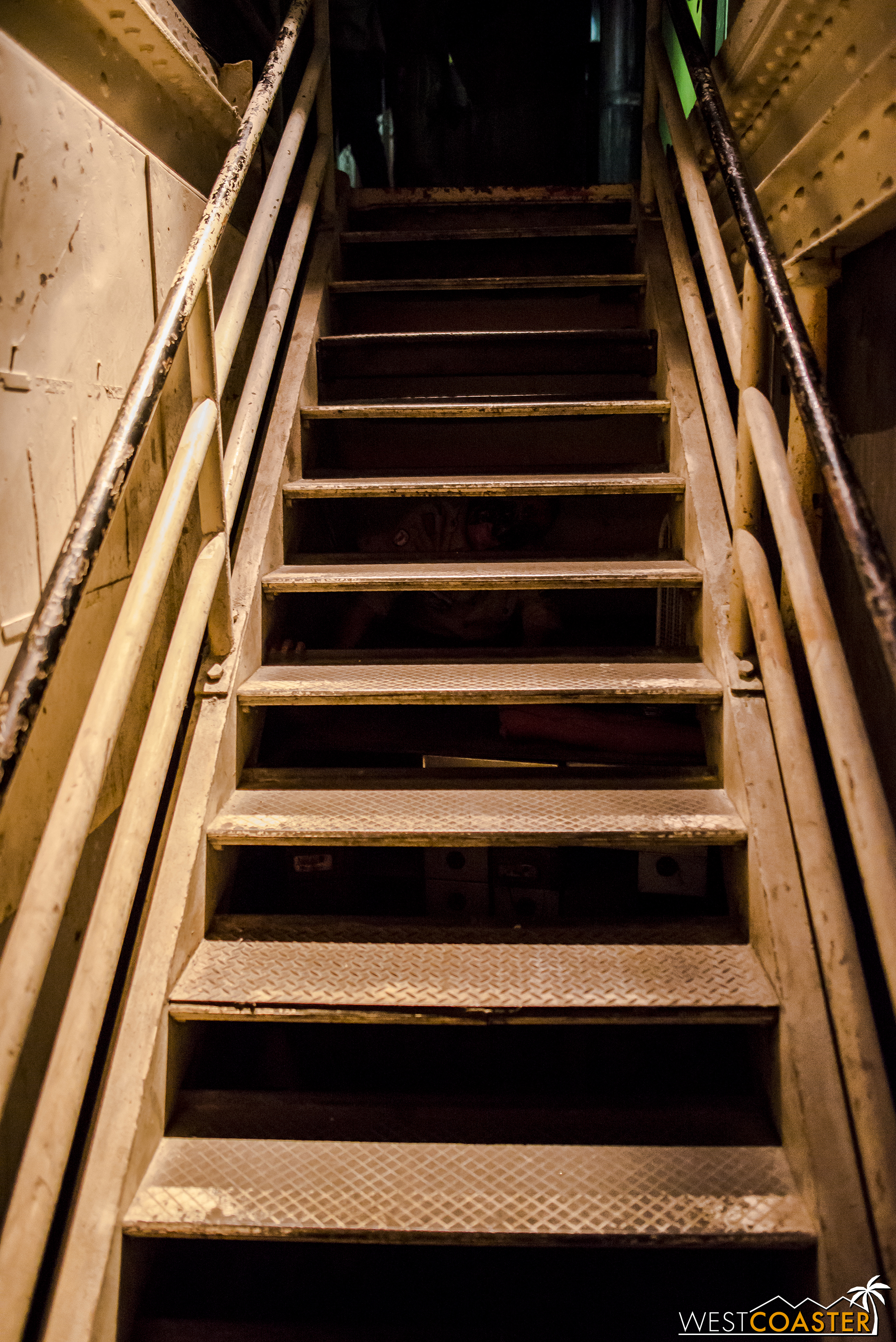 Up the spooky stairs, one of many in the ship mazes, which are not ADA friendly.