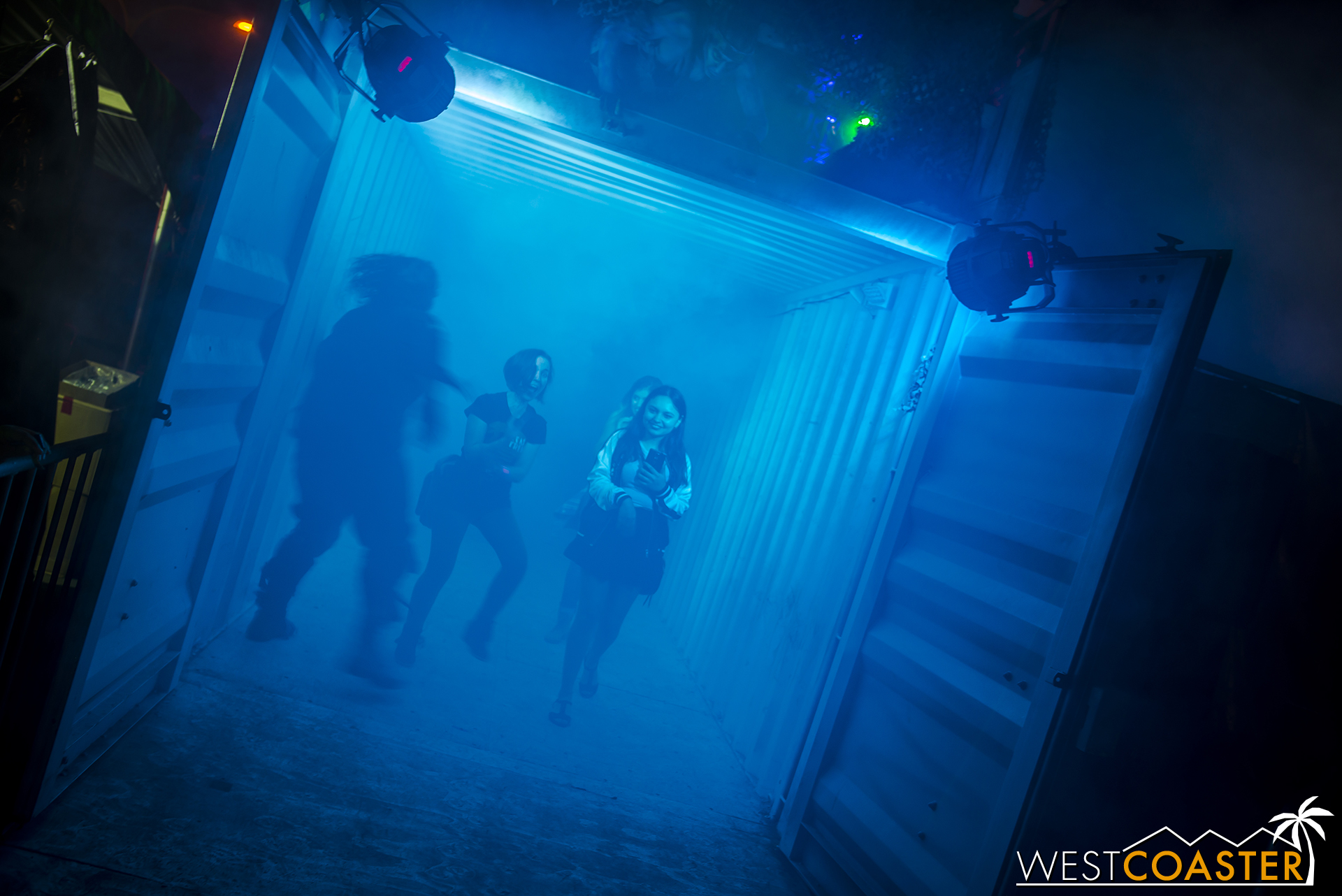 Guests stroll through this fogged out shipping container, blinded by the strobe in their direction.