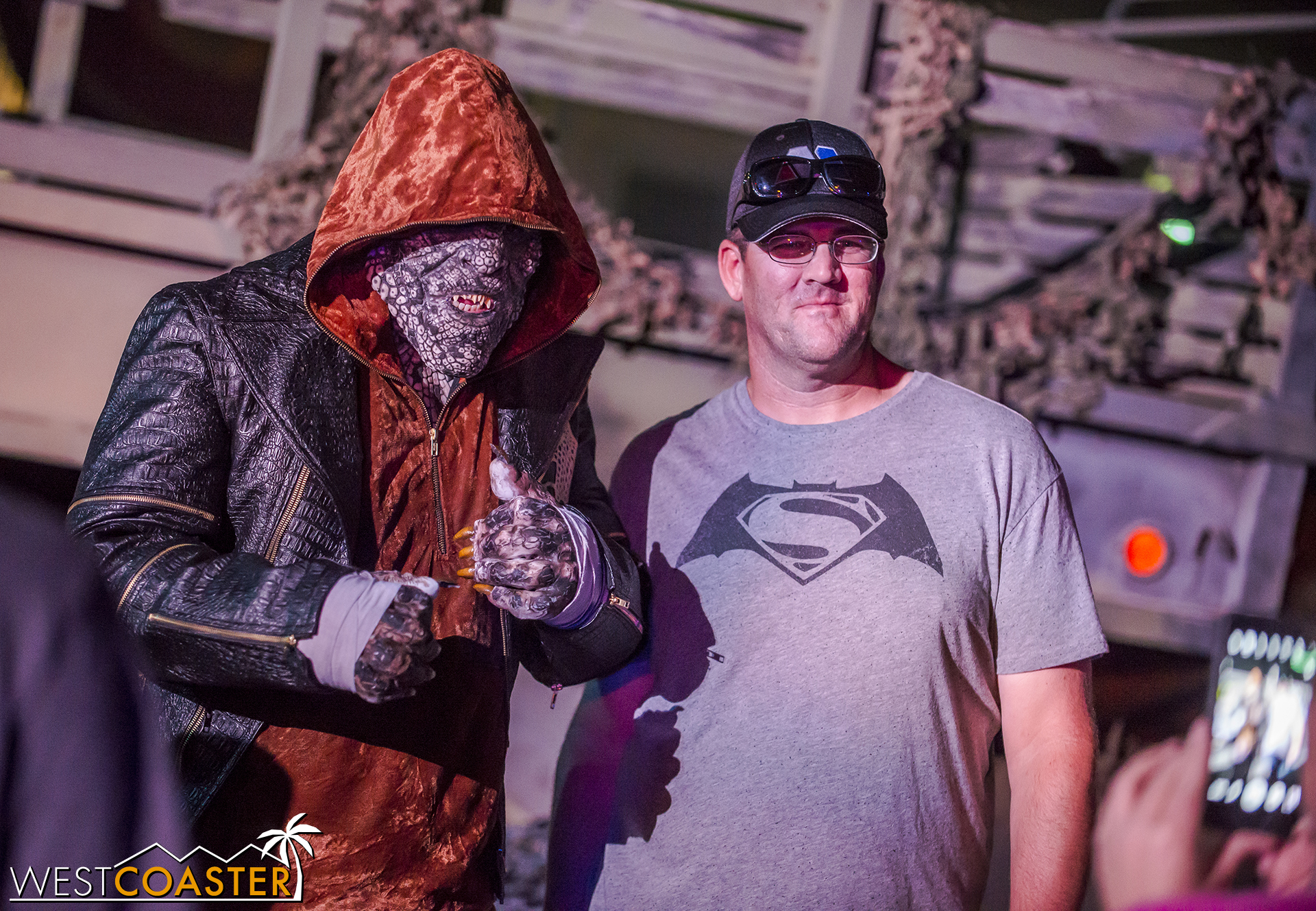 Around the corner, guests can interact with Killer Croc.