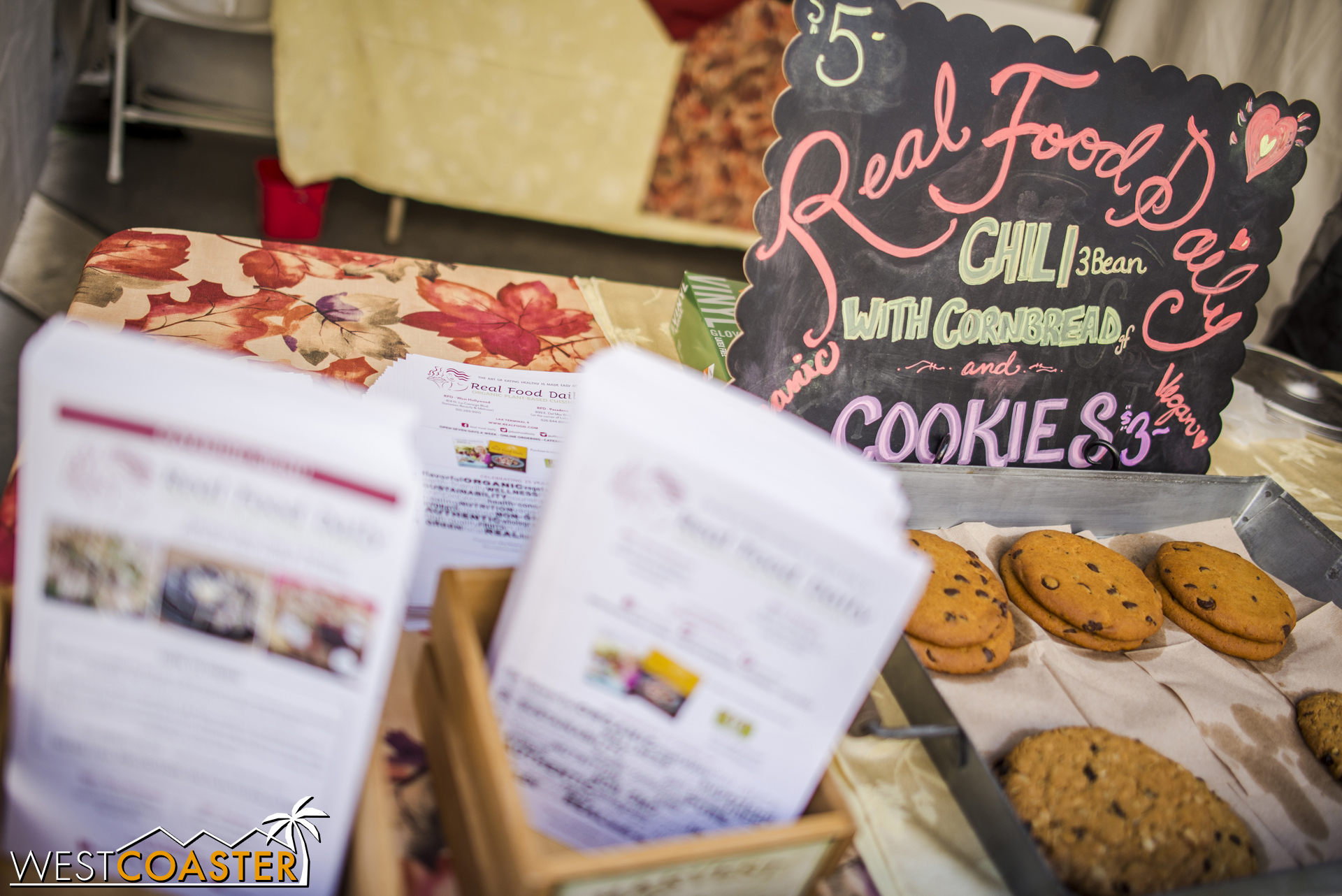 Local vendor Real Food Daily offered cookies and chili.