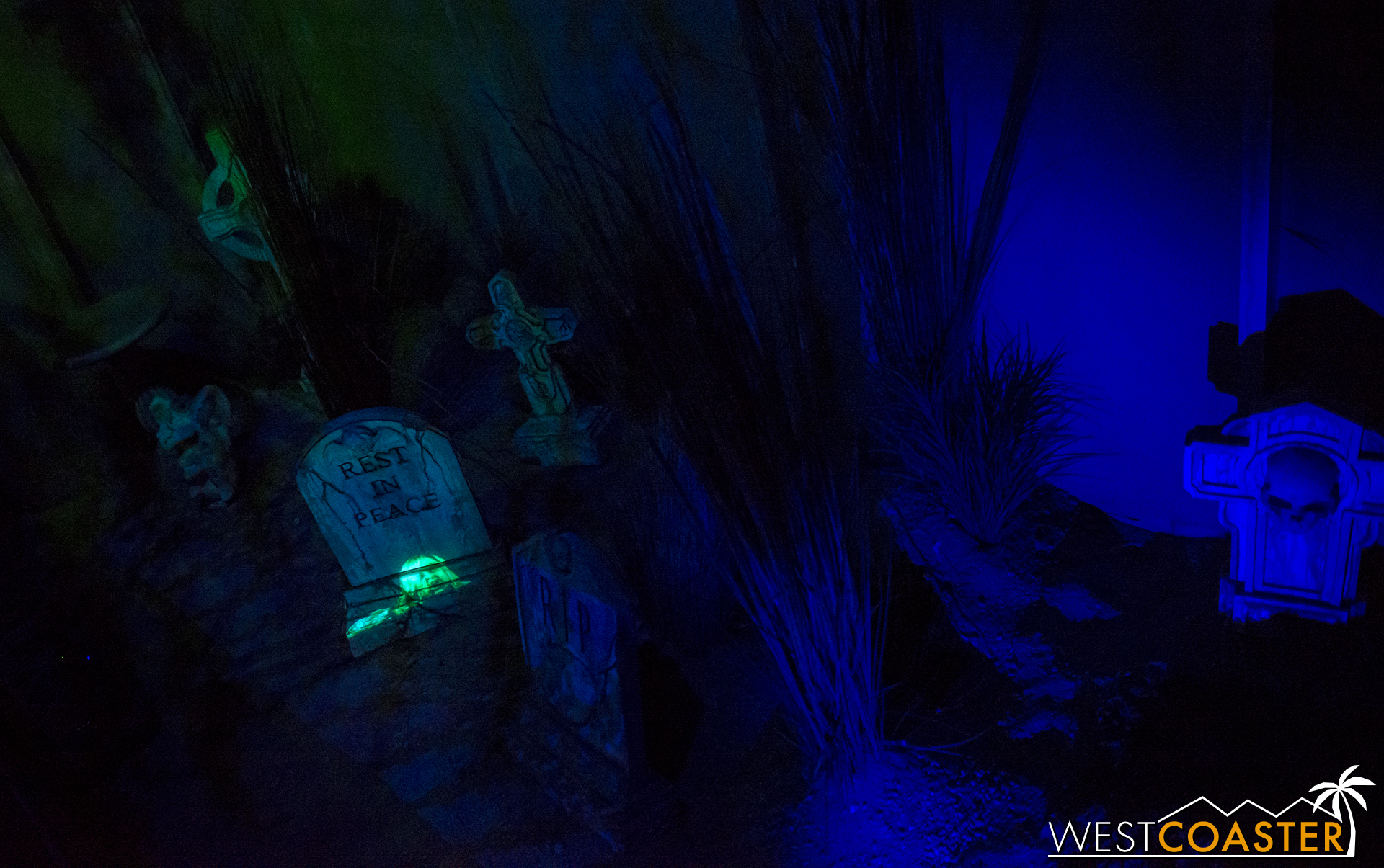 A graveyard in the next scene.