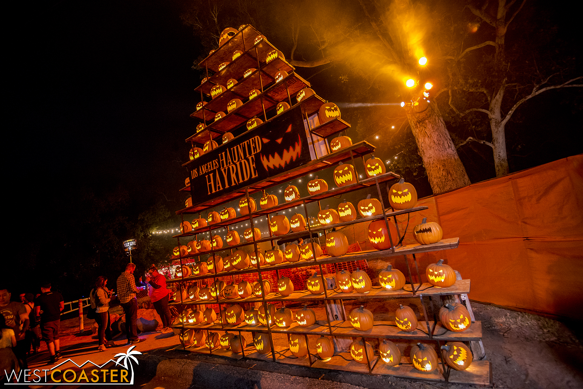 The impressive tower of jack-o-lanterns is still at the Haunted Hayride.