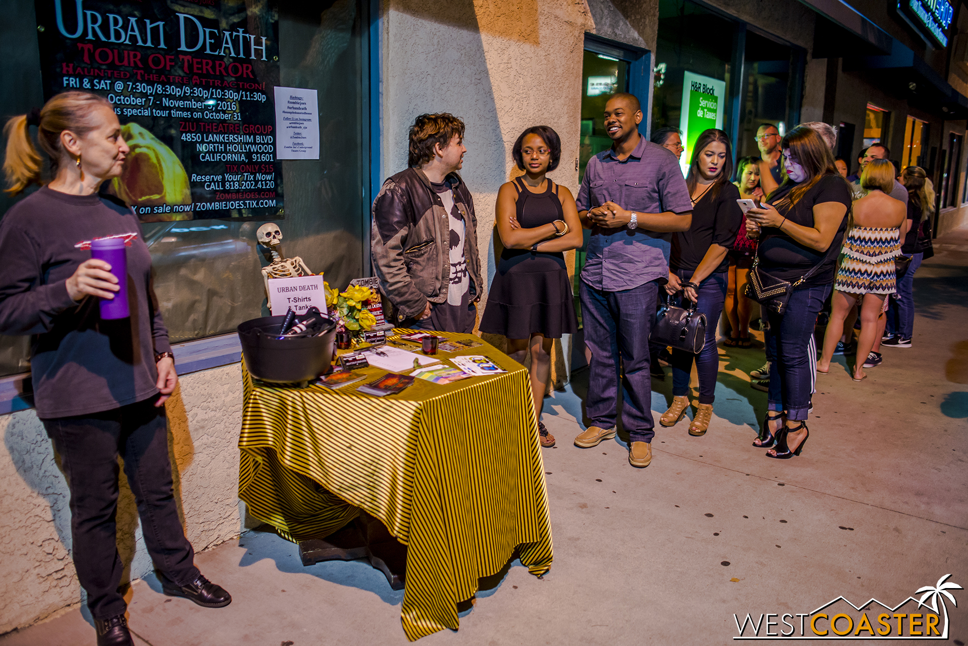 Guests line up before showtime outside Zombie Joe's Underground Theatre.
