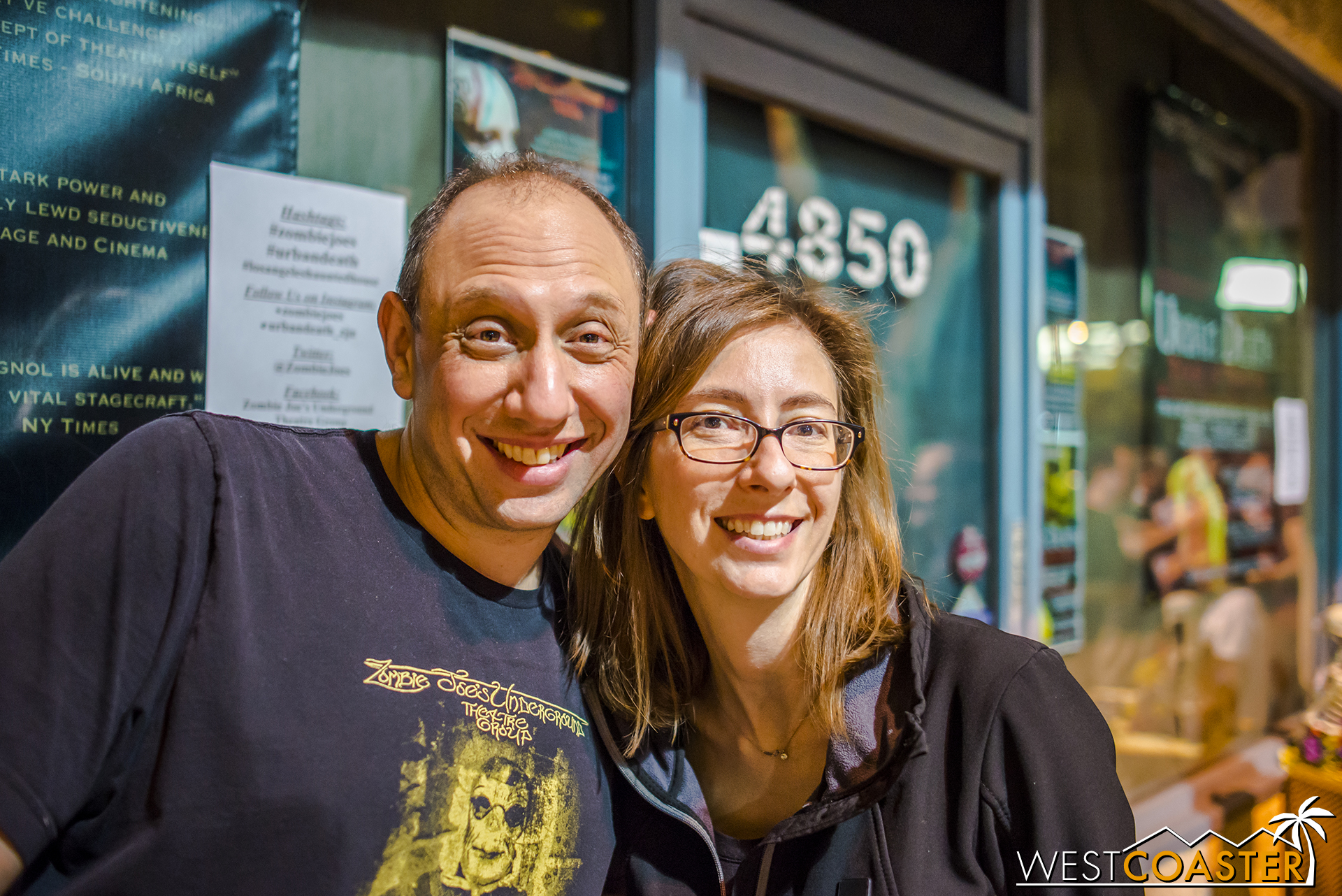 Creators and directors Zombie Joe and Jana Wilmer pose for a photo outside the theater.
