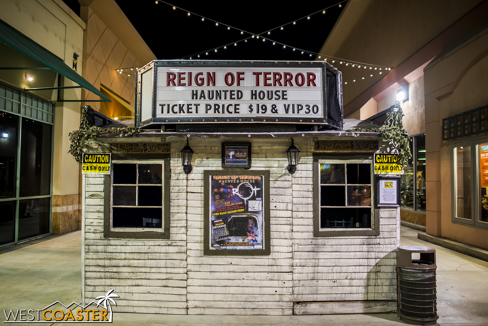 The ticket booth is the first sign of Reign of Terror, and also a place for guests to purchase tickets if they did not do so online.