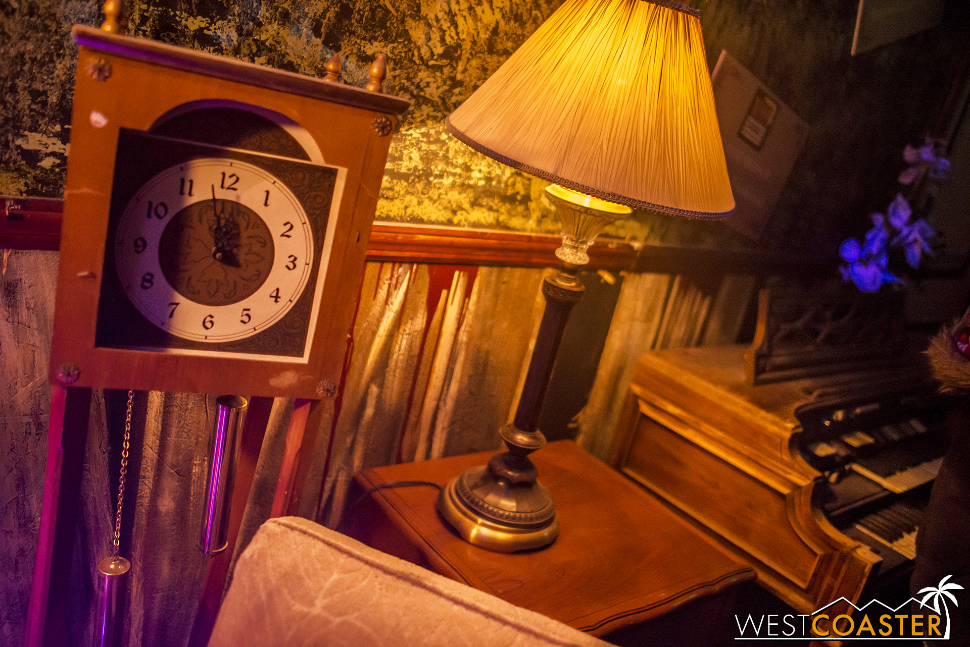 ...a lamp and old clock there.