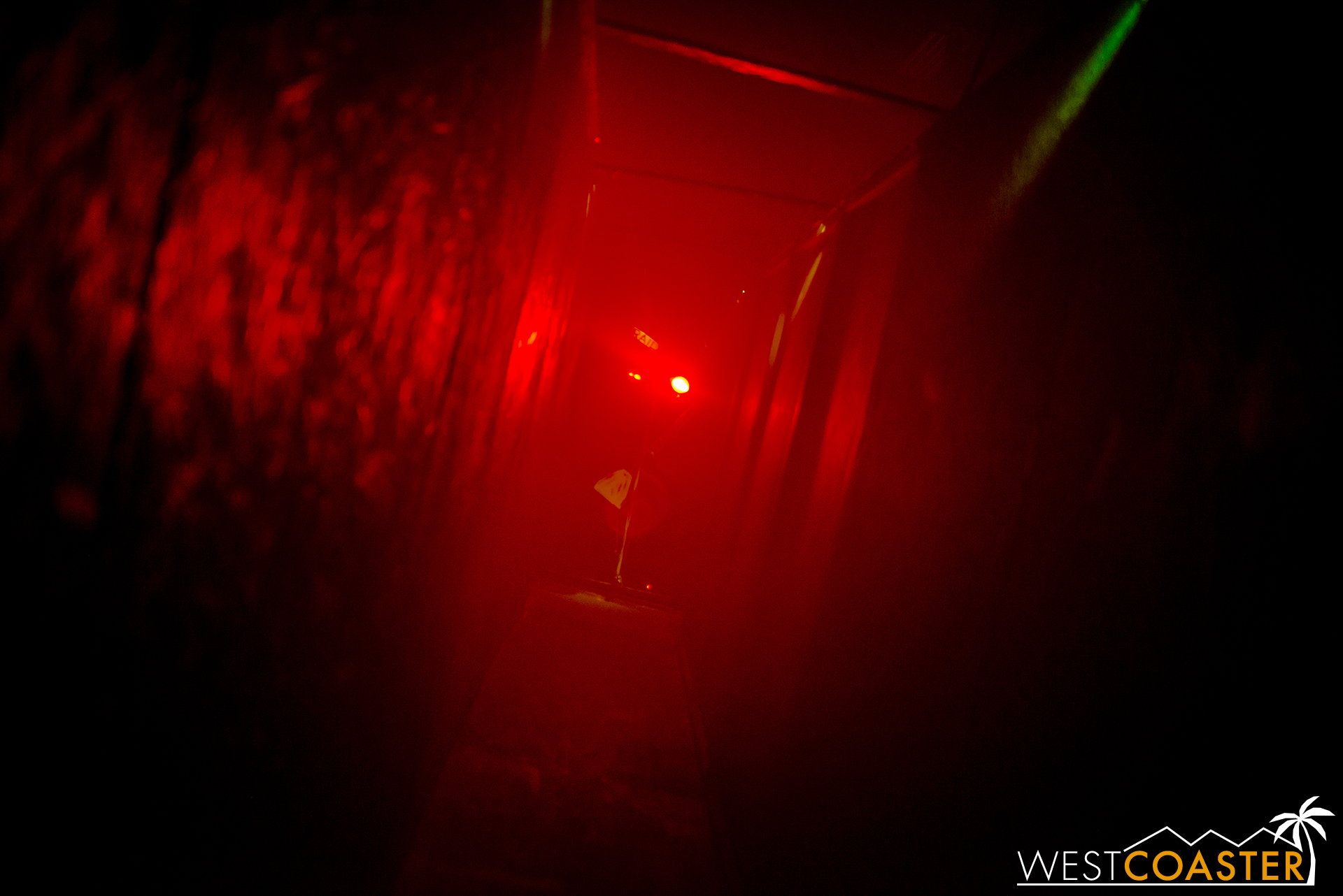 The blinding glow of a red spot is one of my disorienting devices used in the maze.