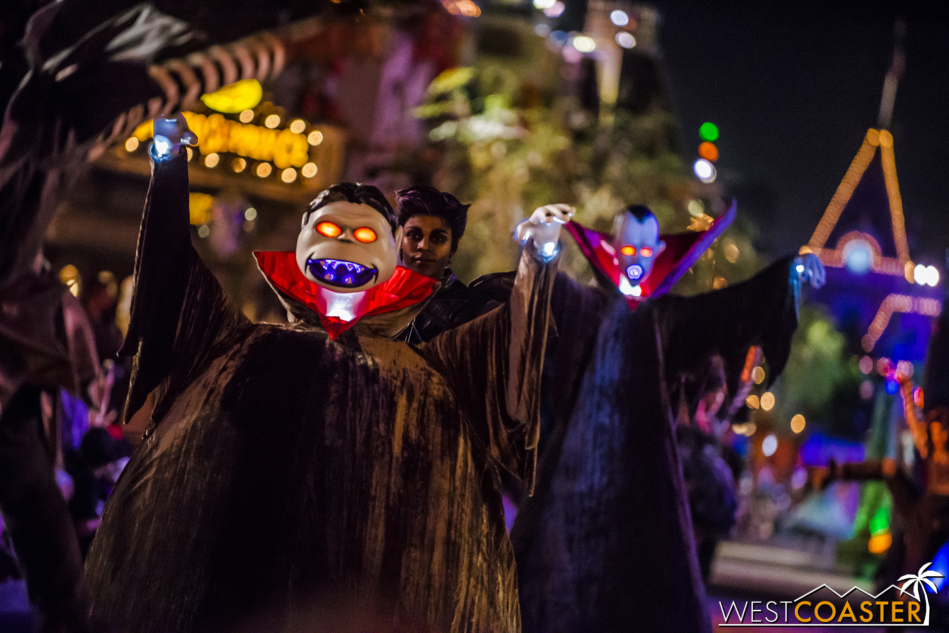 With a  Nightmare Before Christmas  flair, the start of the parade has vampires and goblins.