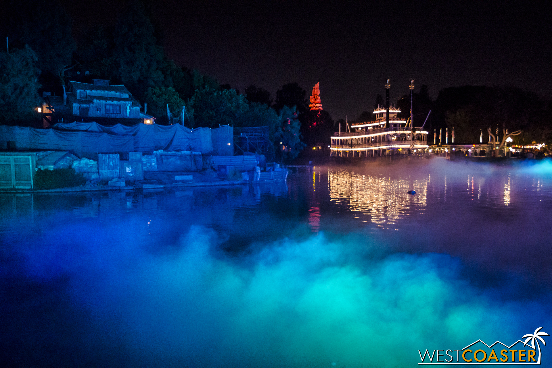 Despite their truncated nature, as with past years, the Rivers of America are fogged out during the Halloween Party.