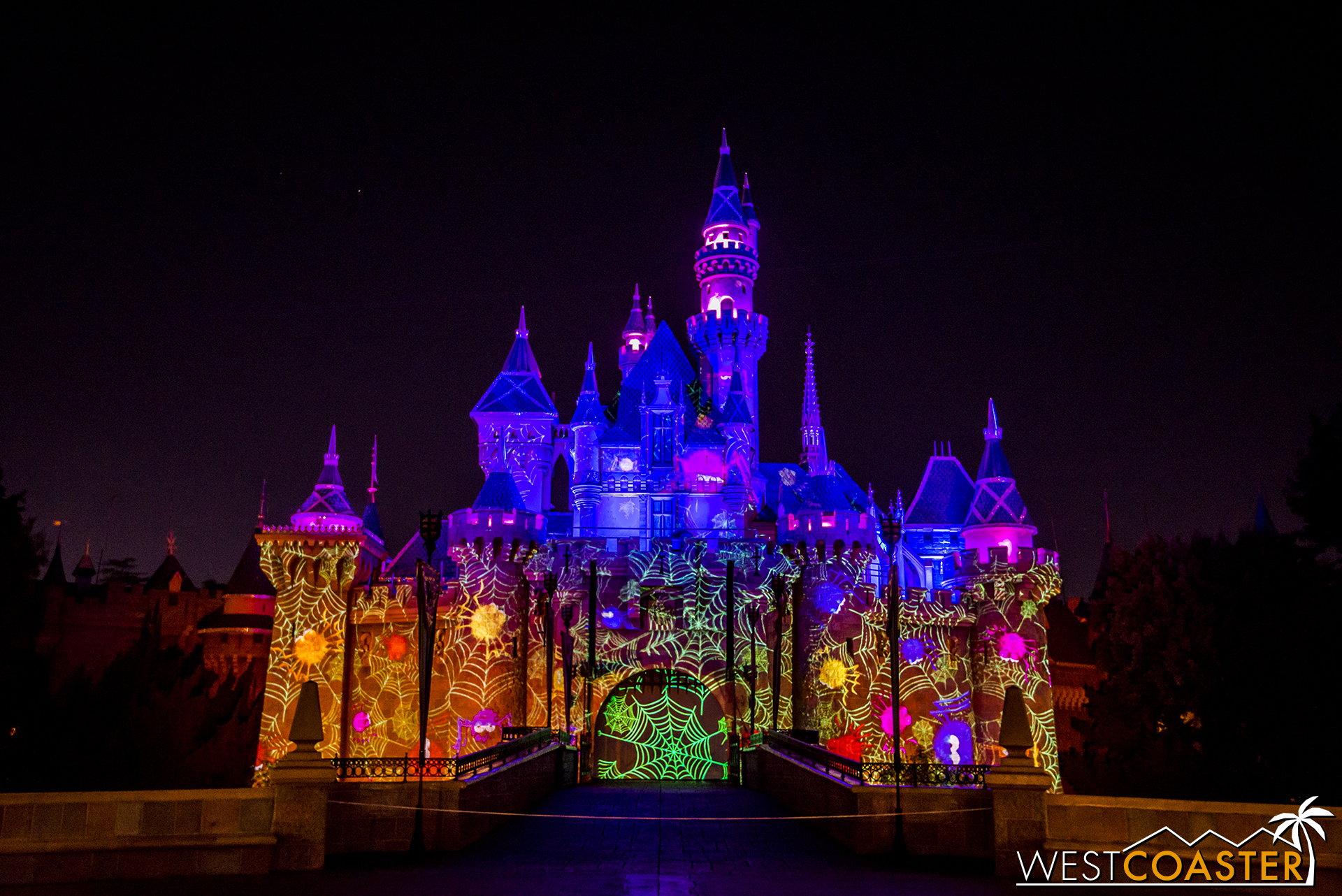 Just as projections shine on the Main Street facades throughout the night, so do they project on Sleeping Beauty Castle too.