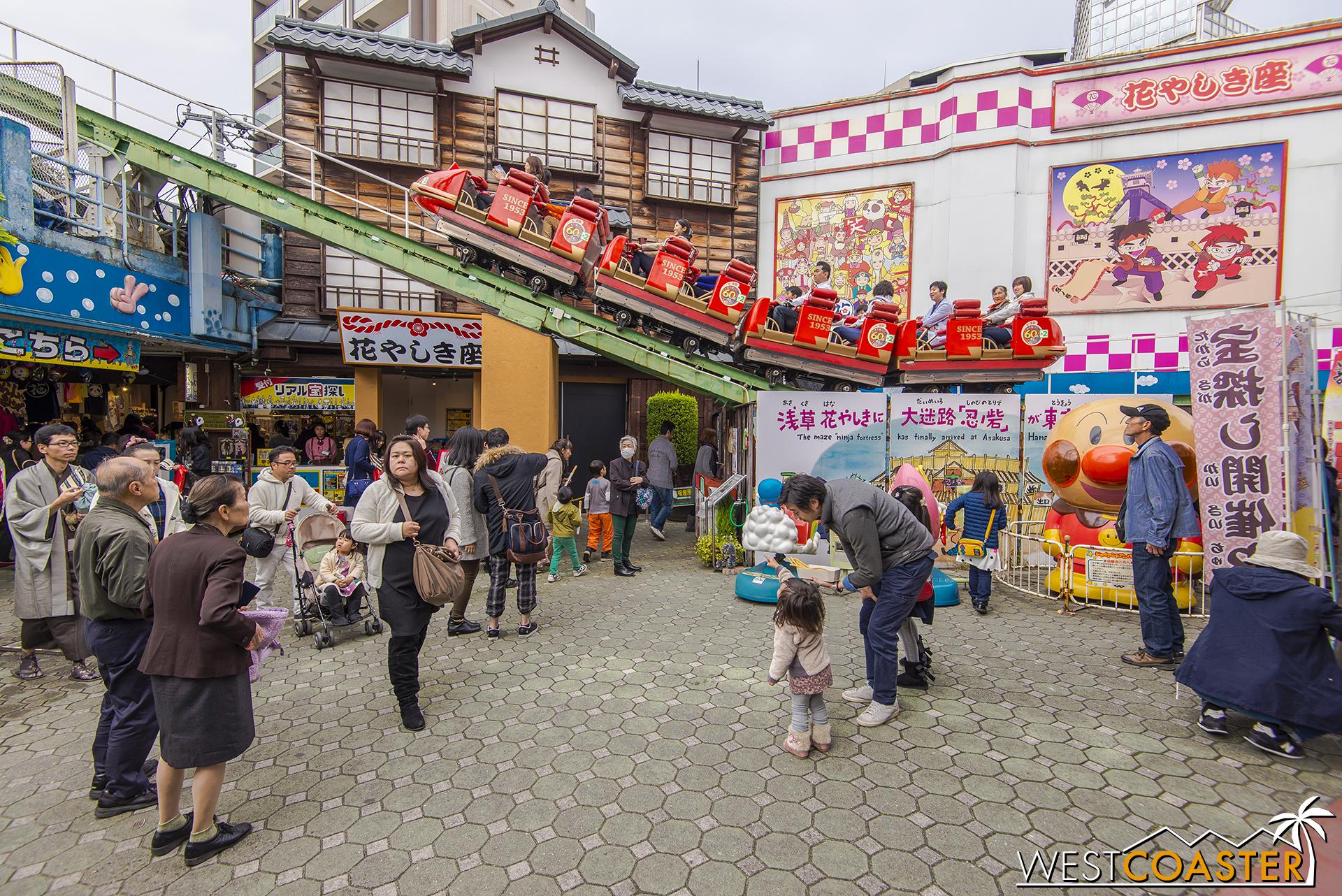 Roller Coaster is a prime attraction at Hanayashiki.