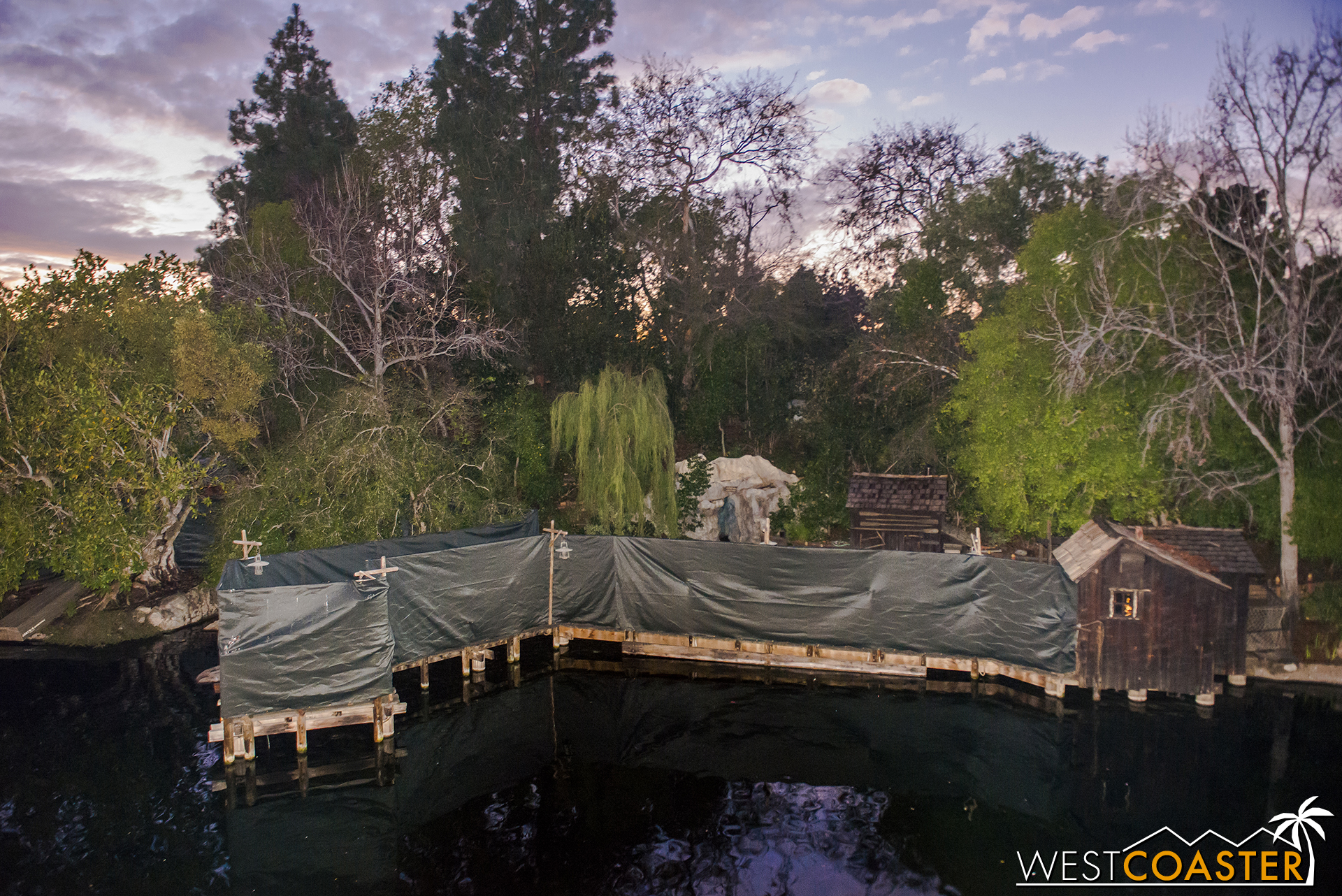 Tarps on the right side conceal the launch point for a new Black Cauldron water float.