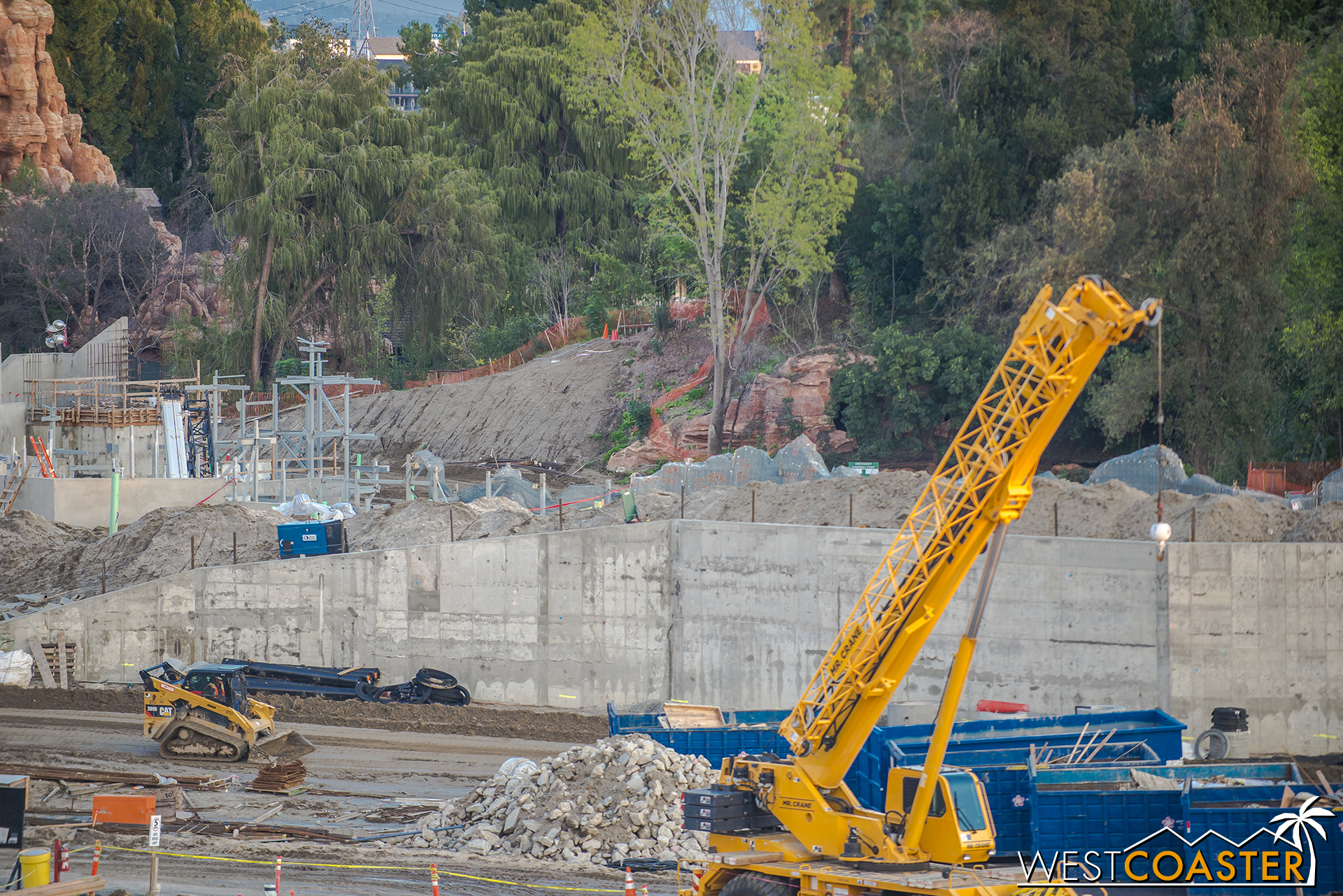 Over here, we have the backside of the rockwork that will front the reconfigured Rivers of America.