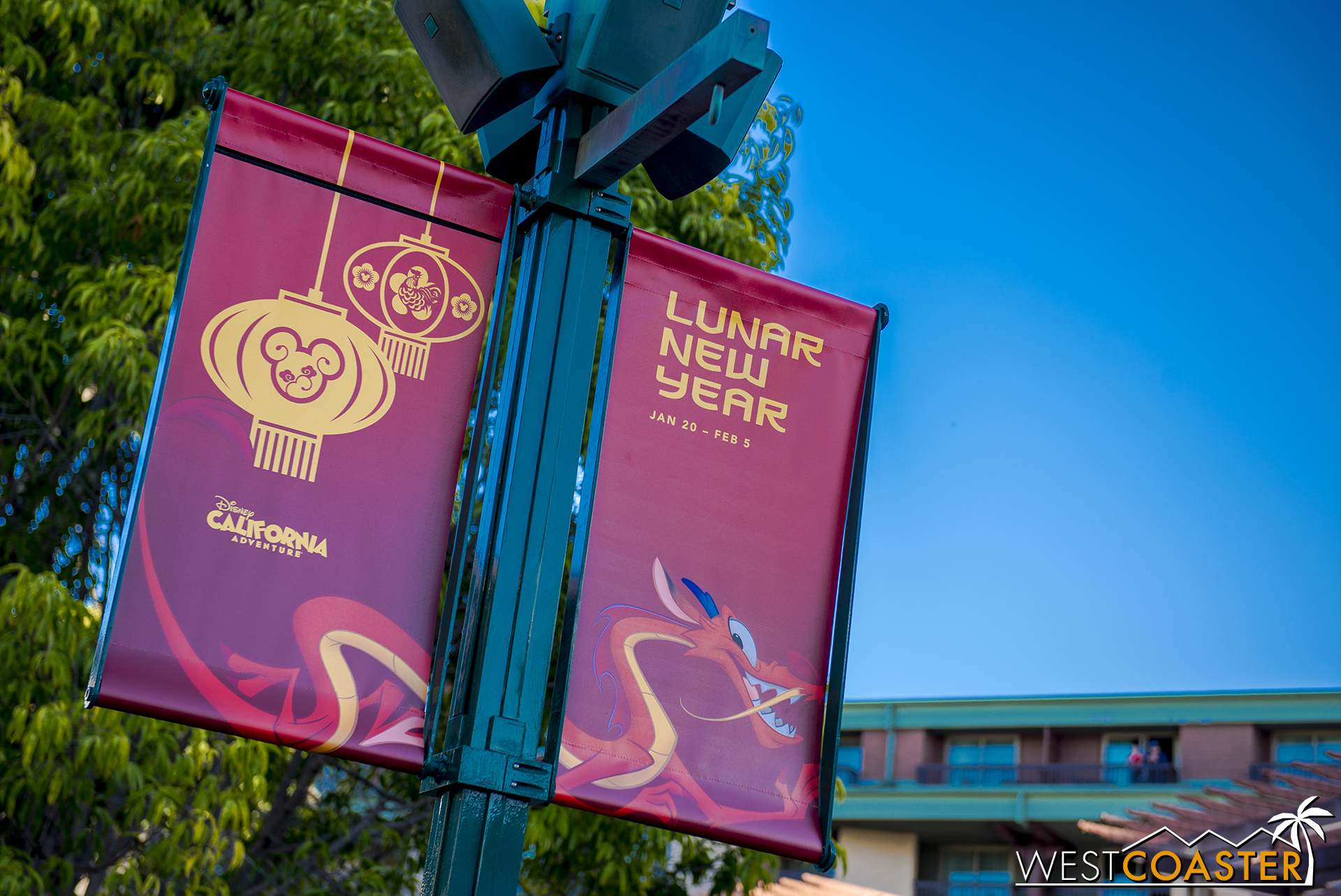 Banners are up for the Lunar New Year celebration at Disney California Adventure, running Friday, January 20 - (Super Bowl) Sunday, February 5.
