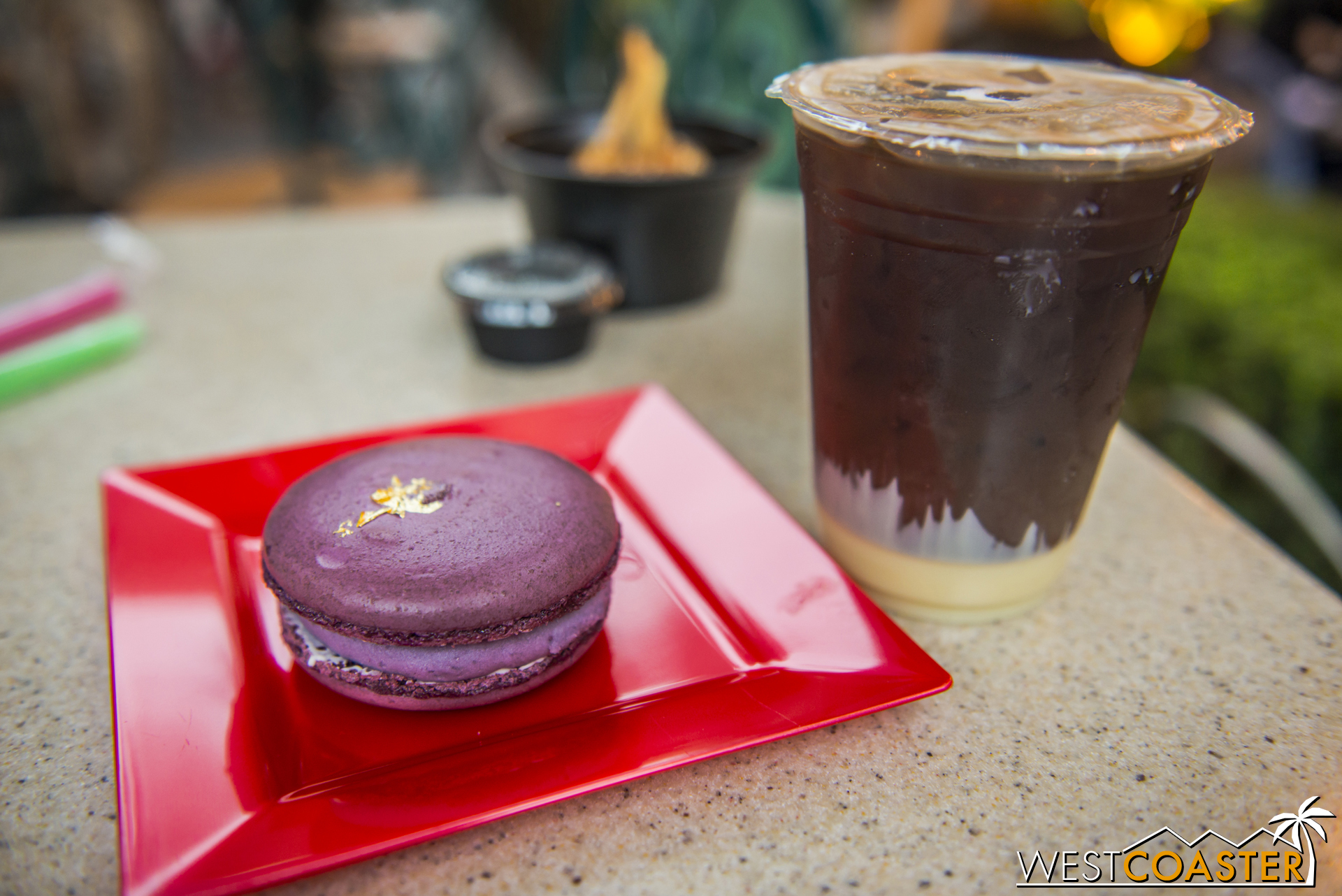 The Purple Sweet Potato Macaron was very tasty, with a particularly sweet berry filling in the middle that I didn't mind, though others may find it a tad too sweet.  The Vietnamese coffee, however, was pretty lackluster compared to Vietnamese coffee I've had outside the park.
