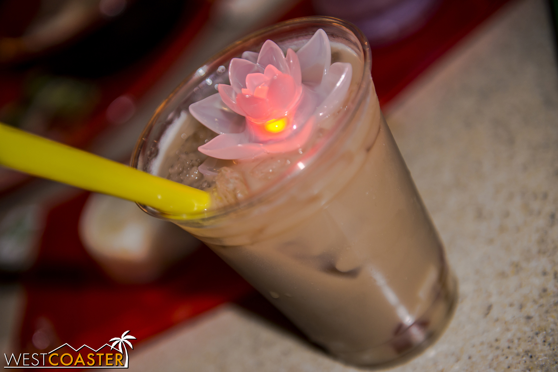 The Almond Milk Iced Tea with Assorted Jellies comes with a nice glow lotus and is available at the Garden Grill.