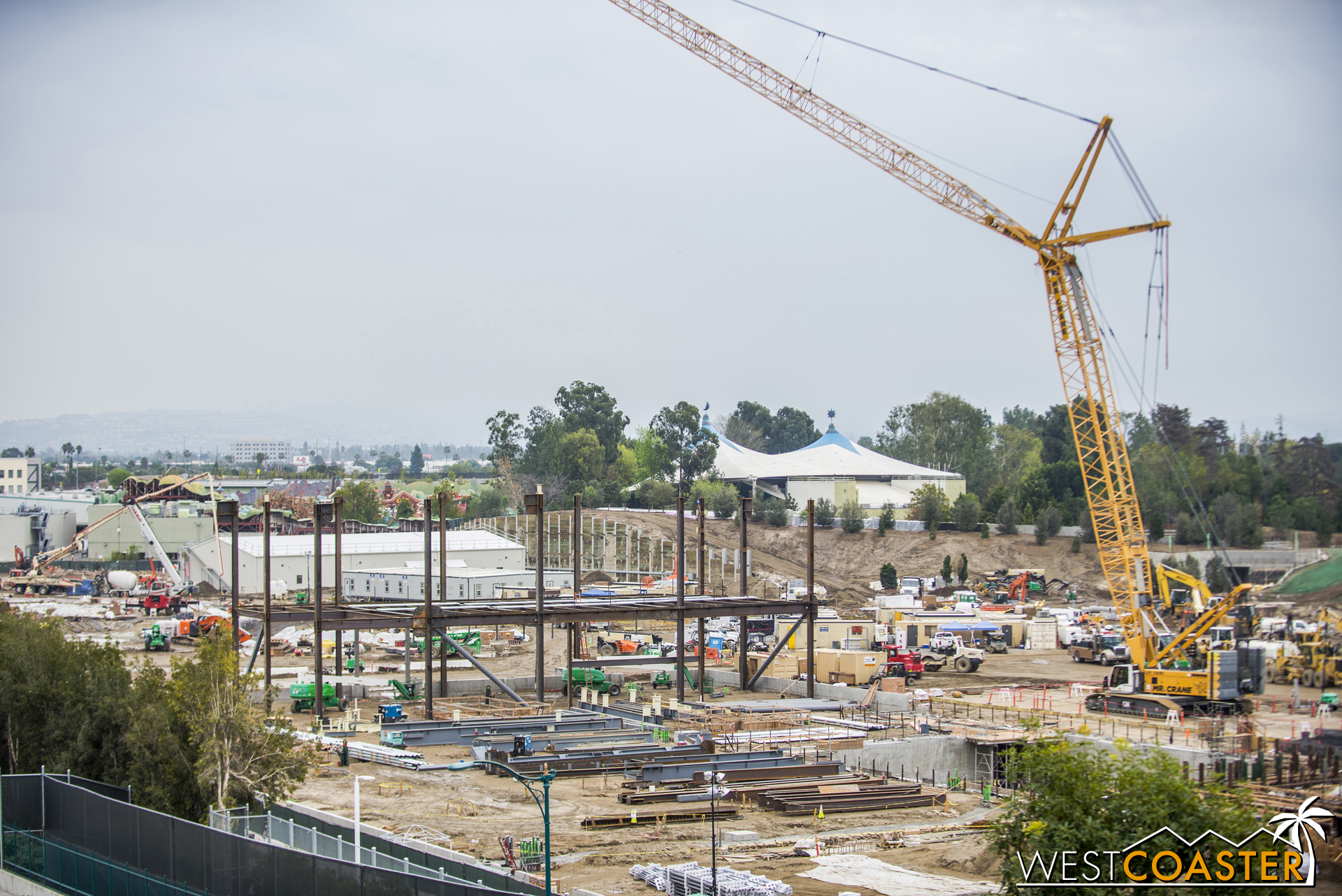 A closer look shows some braced frames and steel columns and beams.