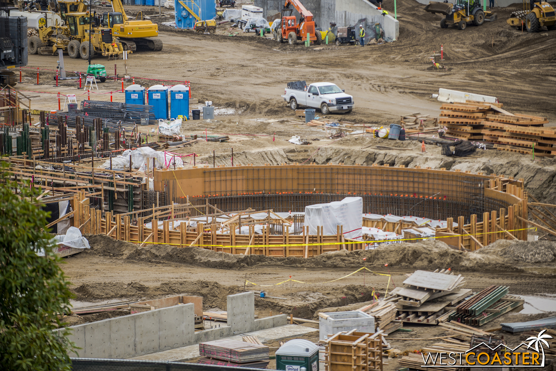 """A slightly closer glance. You can insert moneypit joke here, because Disney is throwing a LOT of money into """"Star Wars"""" Land.  Also, retaining walls are structures--usually concrete--built in basement or hillside conditions used to hold back the soil and dirt on one side of them. Dirt pushes against the wall sideways, so the retaining walls must be designed to resist this force."""