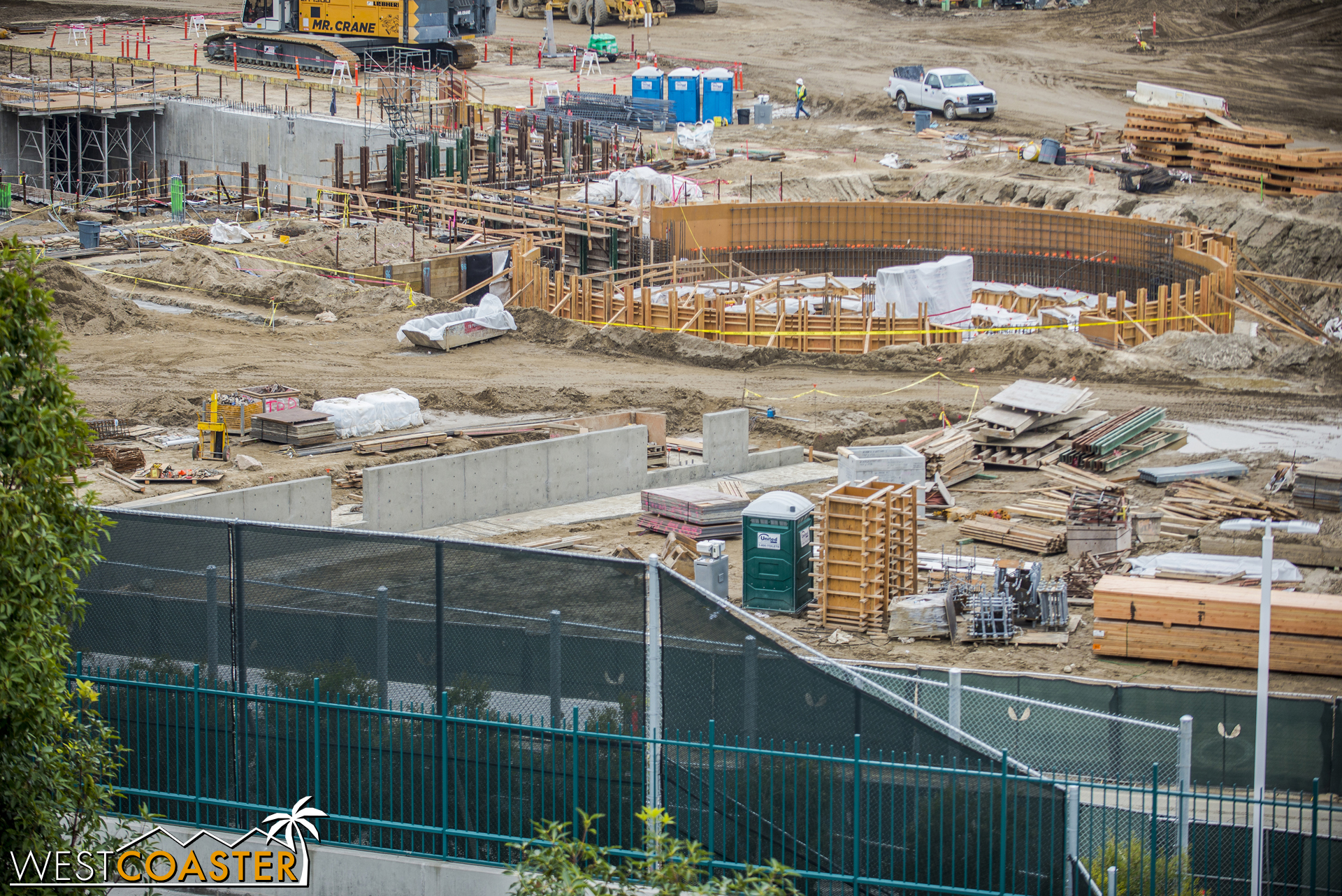 Additional concrete walls have gone up closer to Disneyland Drive.