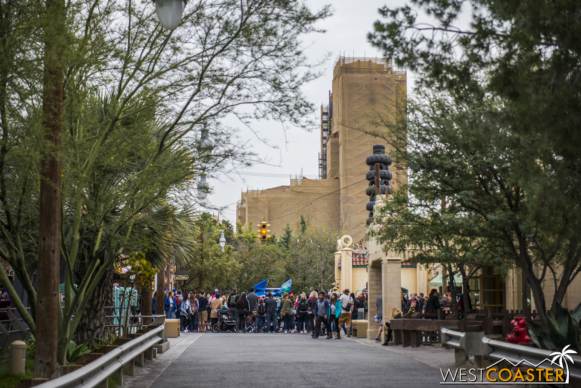 The new Guardians of the Galaxy attraction will have a visual impact all over the park.  Here's the view from Cars Land.