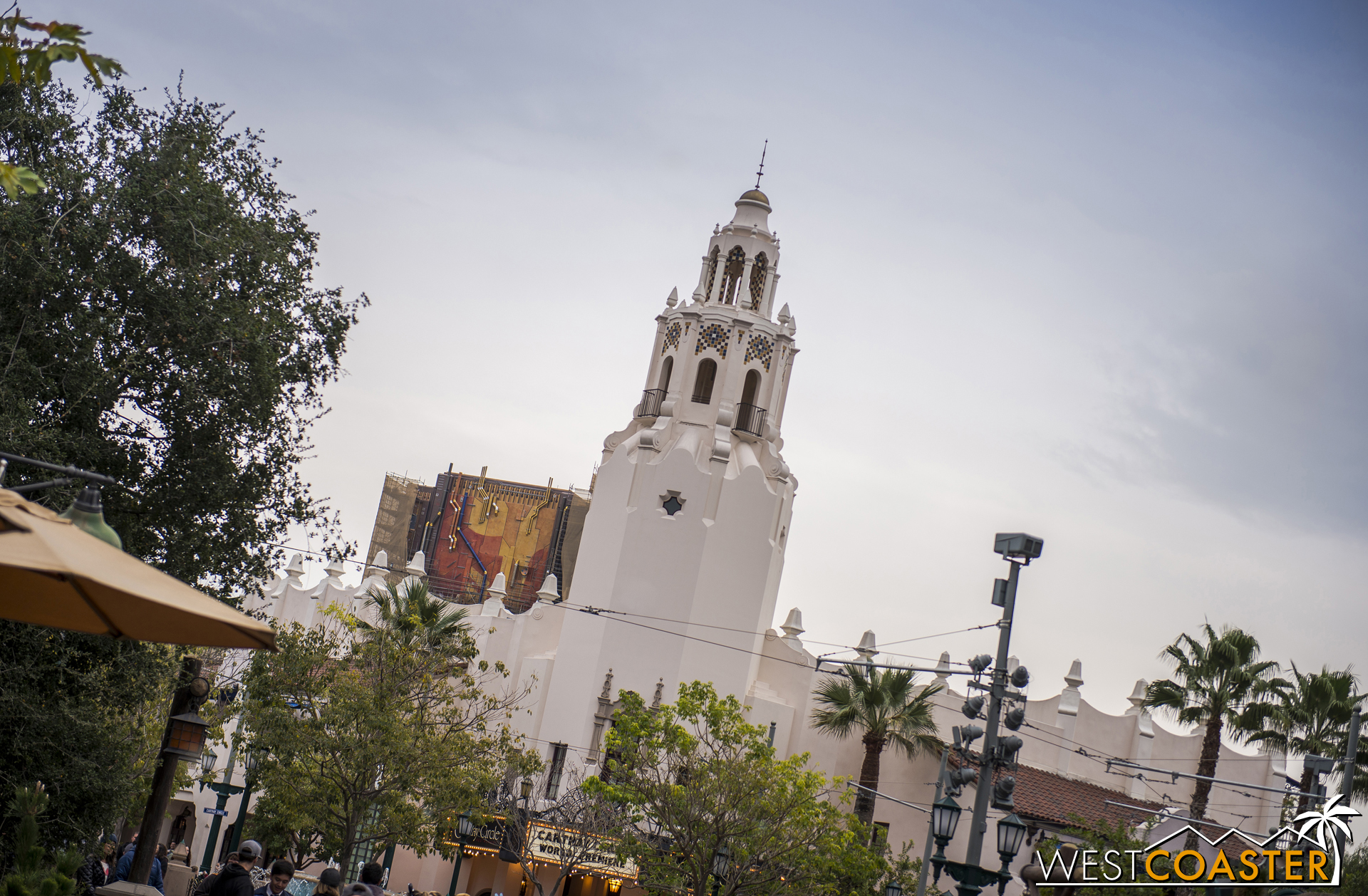 And here it is looming behind Carthay Circle Restaurant, as seen from Grizzly Peak Airfield.