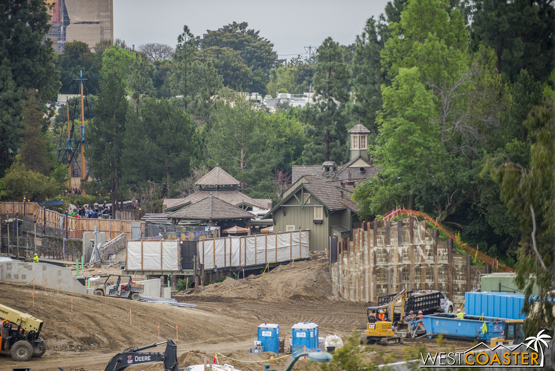 They'll have a few months to finish up the public-facing side of this area, since the Disneyland Railroad is scheduled to reopen in July.