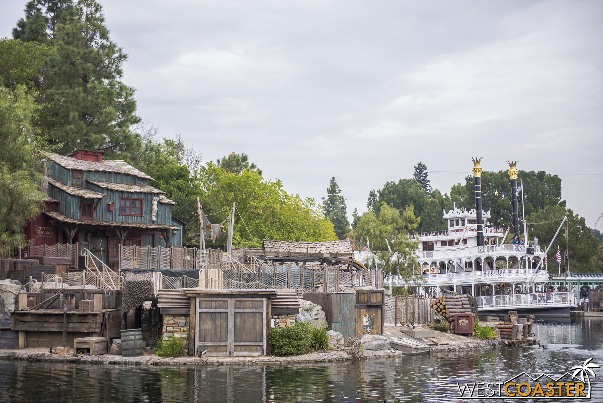A view back to the Mark Twain, which remains docked.