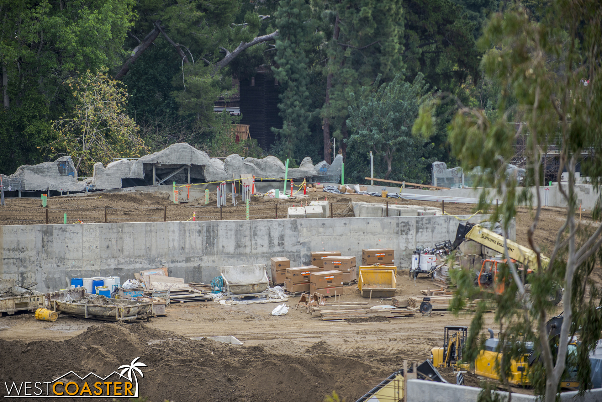The rockwork facing the Rivers of America continues to progress as workers reconfigure this part of the river.