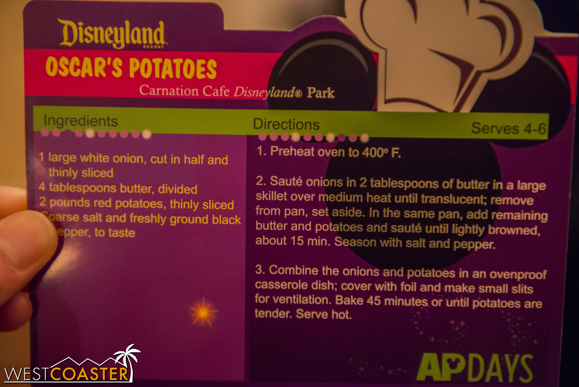 Here's this week's recipe card, which can be obtained from Redd Rocket's Pizza Port, Jolly Holiday Bakery, Refreshment Corner, or Gibson Girl Ice Cream Parlor (just go to a cashier and show him or her your AP for scanning).
