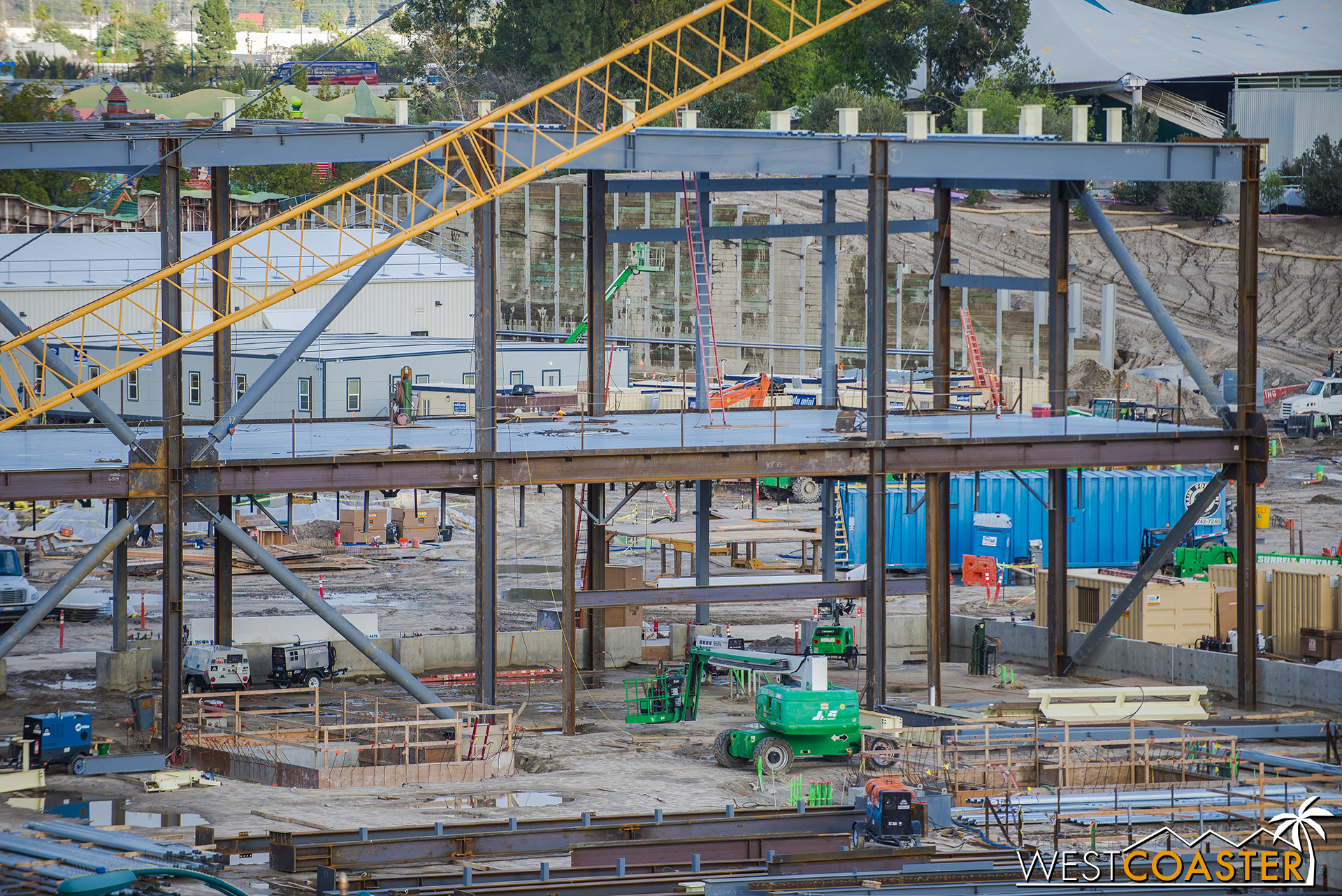 Over at the show building for E-Ticket #1, more steel has gone up.