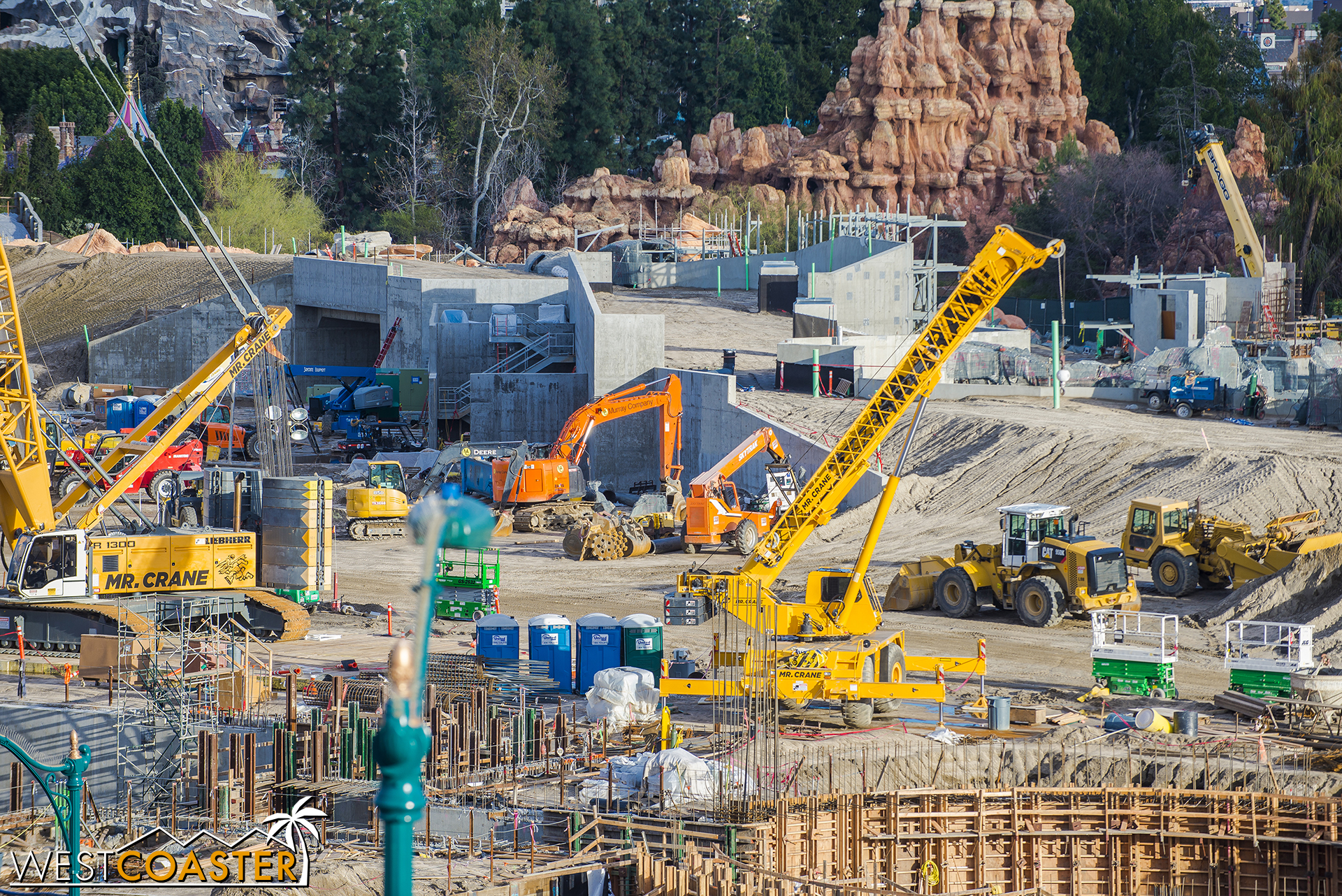 """It's going to be pretty nice.  And now we come upon one of the entrances into """"Star Wars"""" Land, plus the service road that will go over the tunnel entrance to link Fantasyland backstage to this area."""