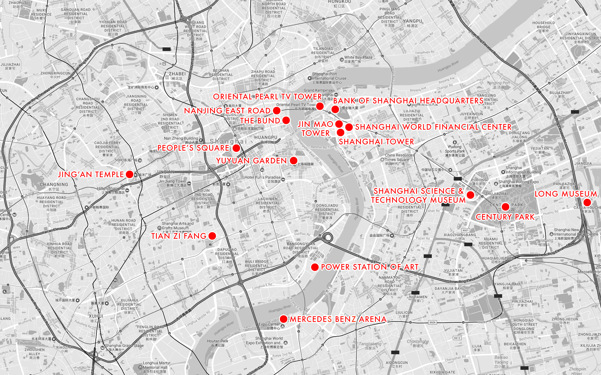 A map of various attractions within the city.  Full disclosure: this is taken from my own chosen points of interest when I was planning my vacation last year.  Some of these are popular tourist spots for anyone, and others are things that piqued my own interest.