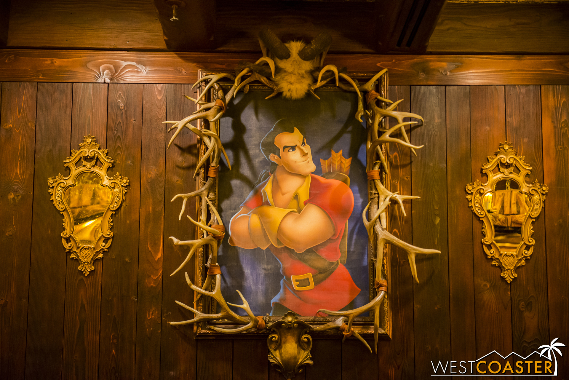 Gaston's presence is in full effect as a framed drawn portrait on one wall.
