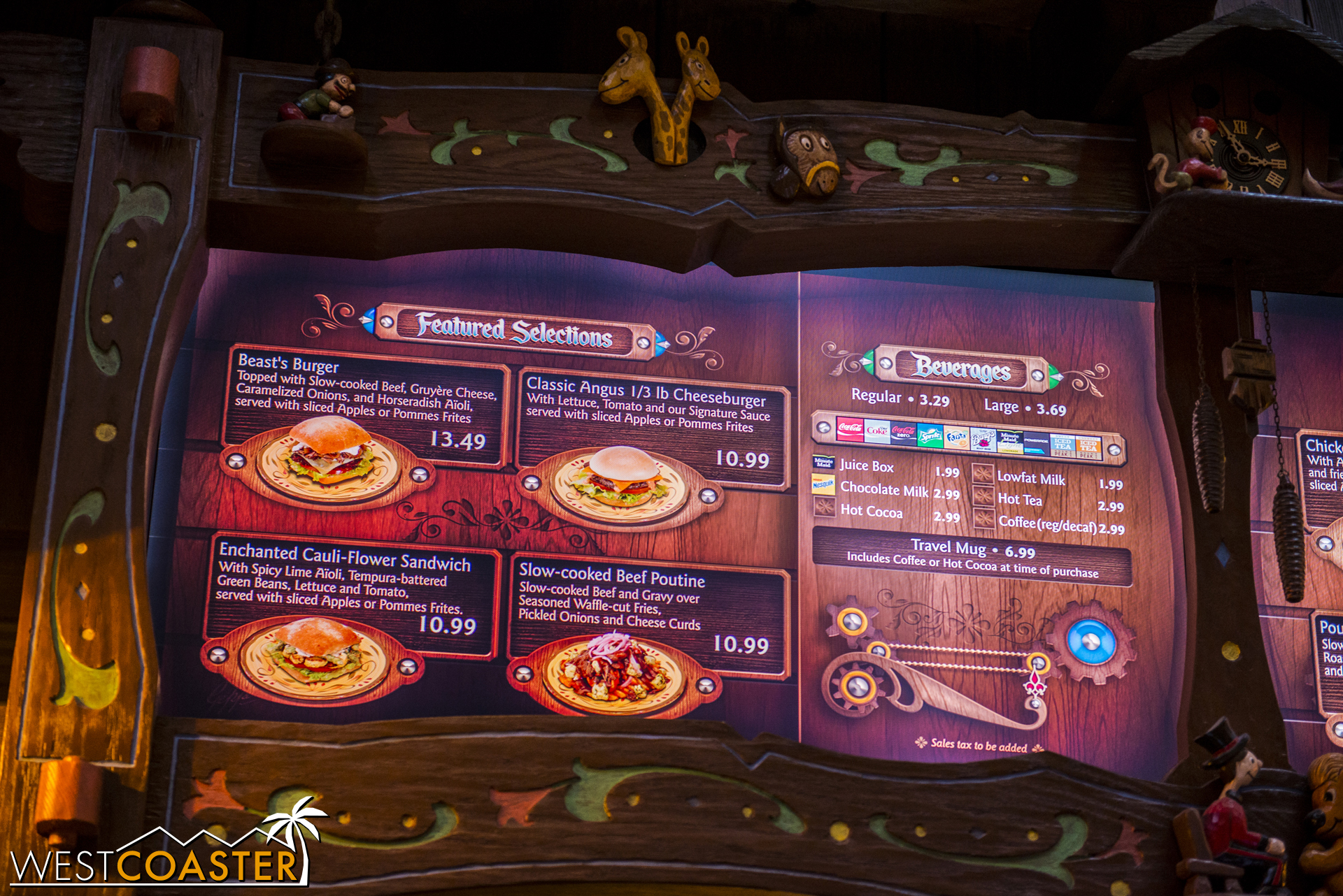 Lets take a look at the food offerings! Here's half of the adult selections.