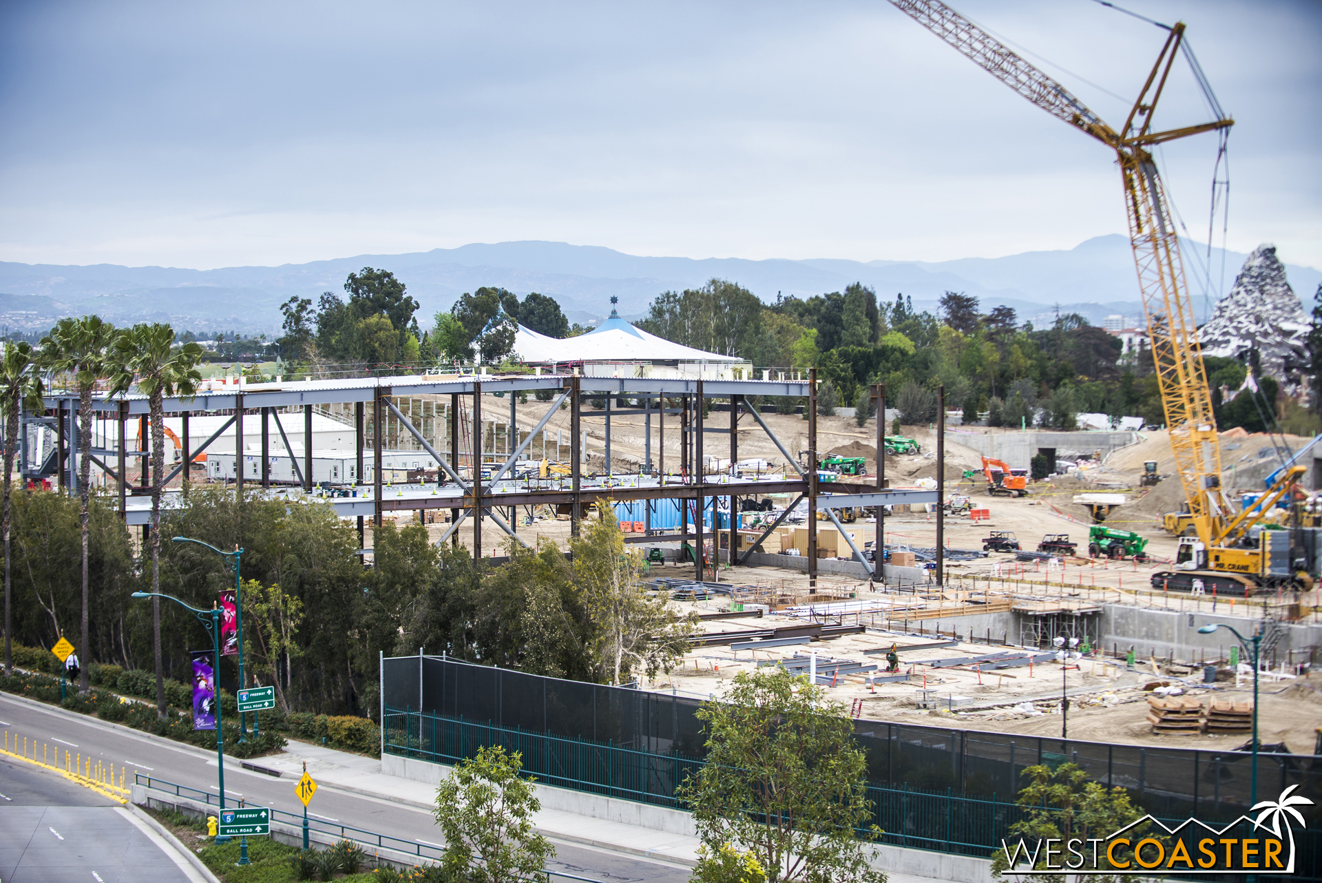 Meanwhile, additional steel for columns and braces appears to be advancing forward toward the trench area.