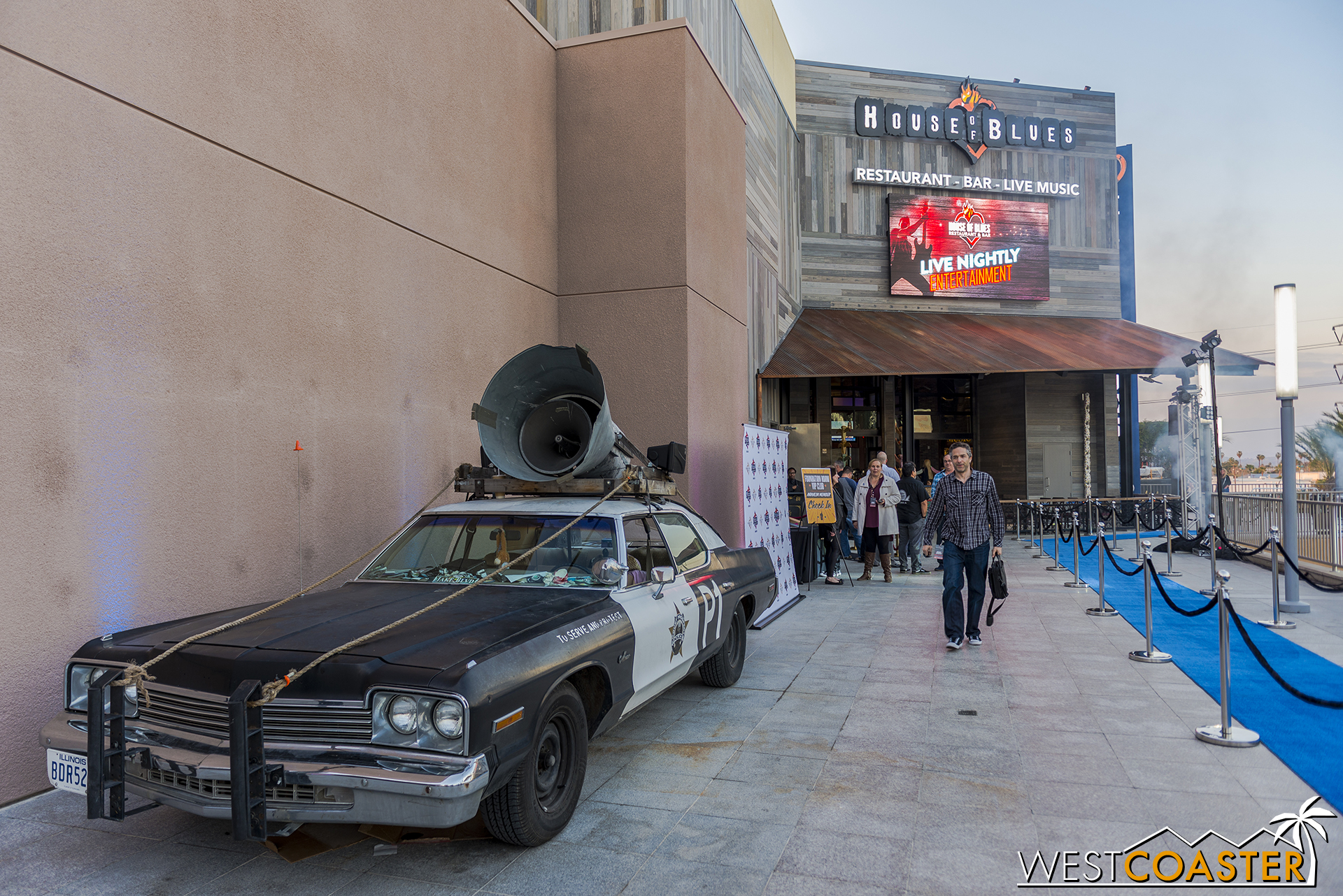 The Blues Brother police car was parked outside the House of Blues entrance on opening night.