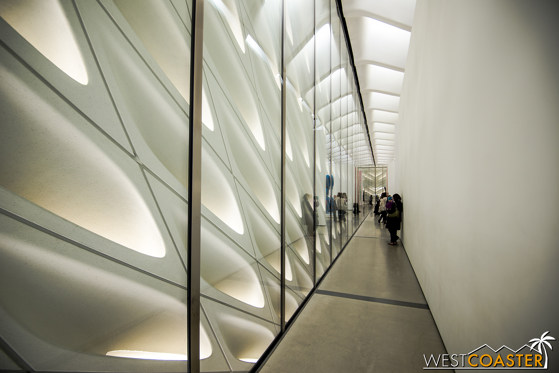 """The building skin of the """"veil"""" as seen from the inside."""
