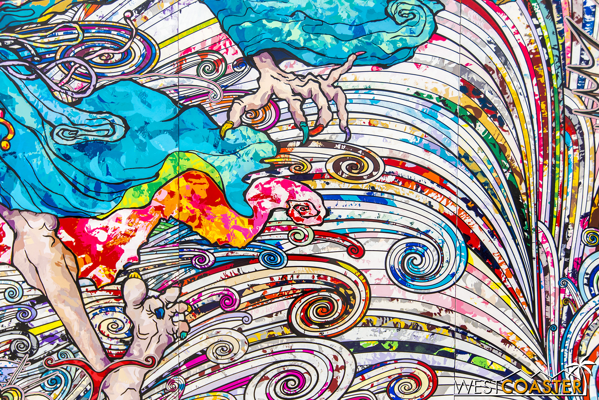 Detail from Takashi Murakami's impressive  In the Land of the Dead, Stepping on the Tail of a Rainbow .