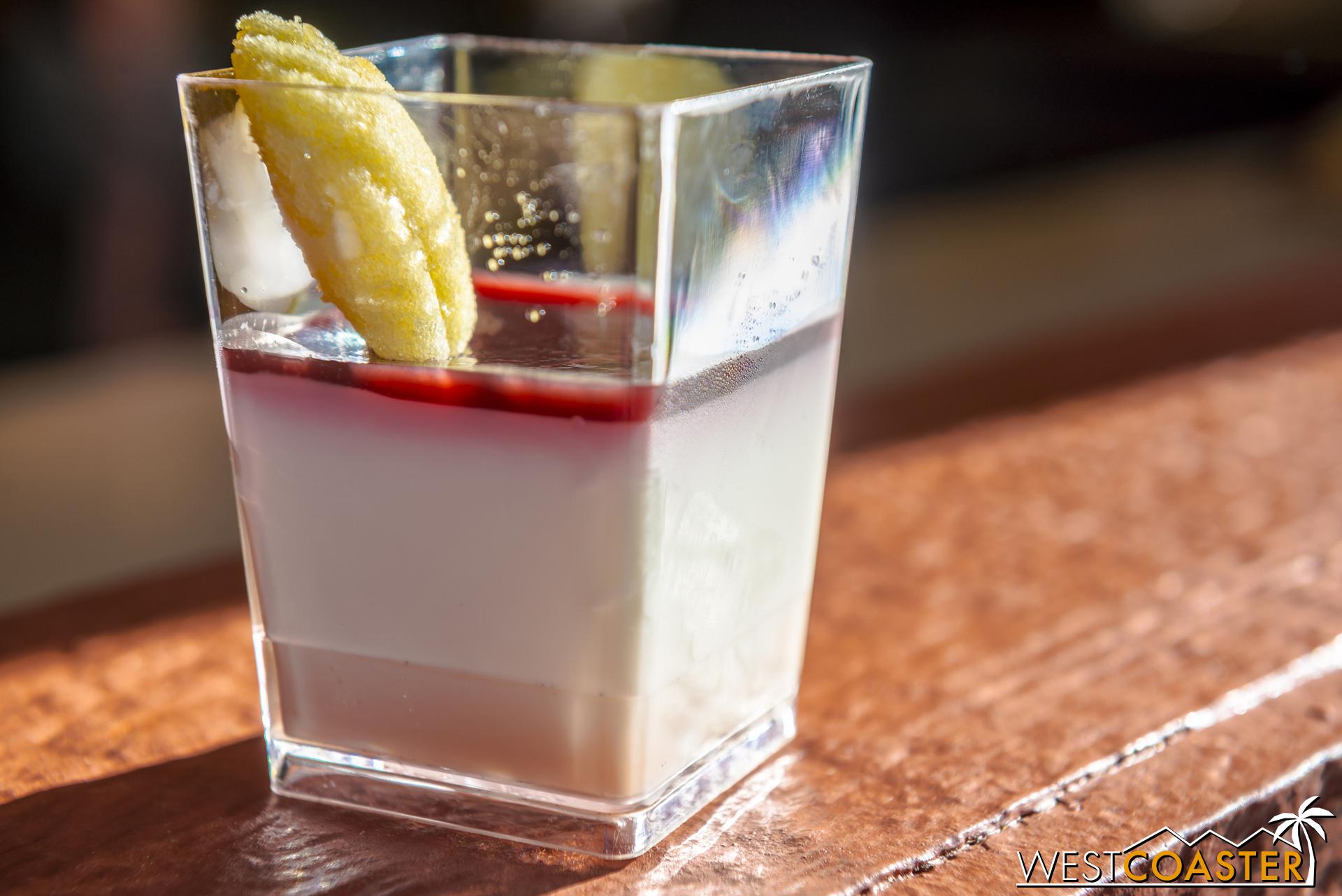 From Olive Us:  Vanilla Bean Crème Fraîche Panna Cotta  with Amarena Cherry Jus and EVOO Madeleine ($4.25)