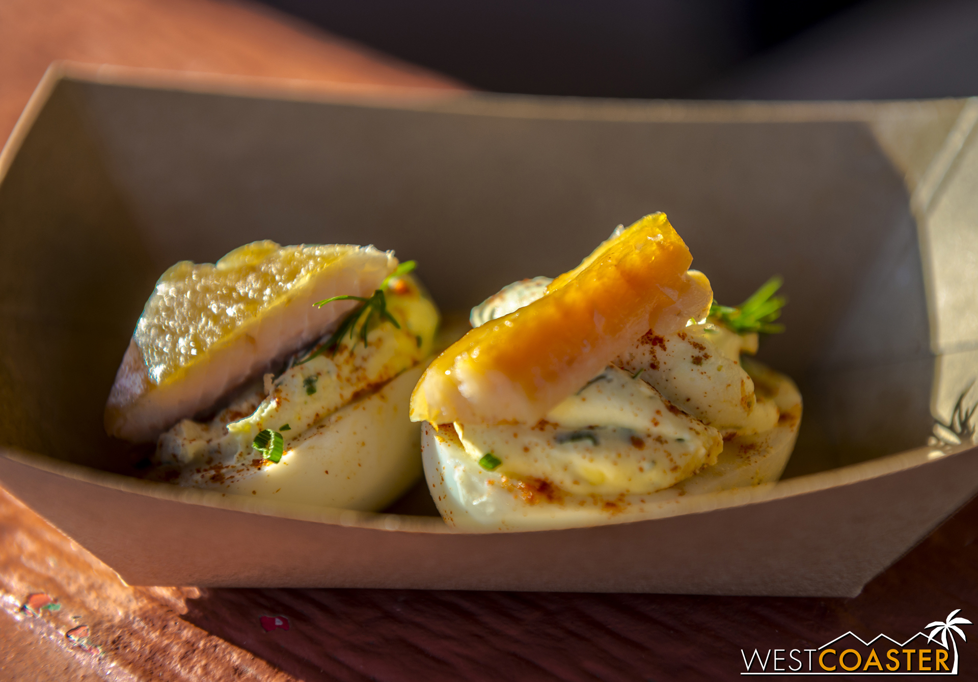 From Seafood...Sustained:  Cage-free Deviled Eggs with Farm-raised Smoked Trout  with Cream Cheese and Chives ($4.00)