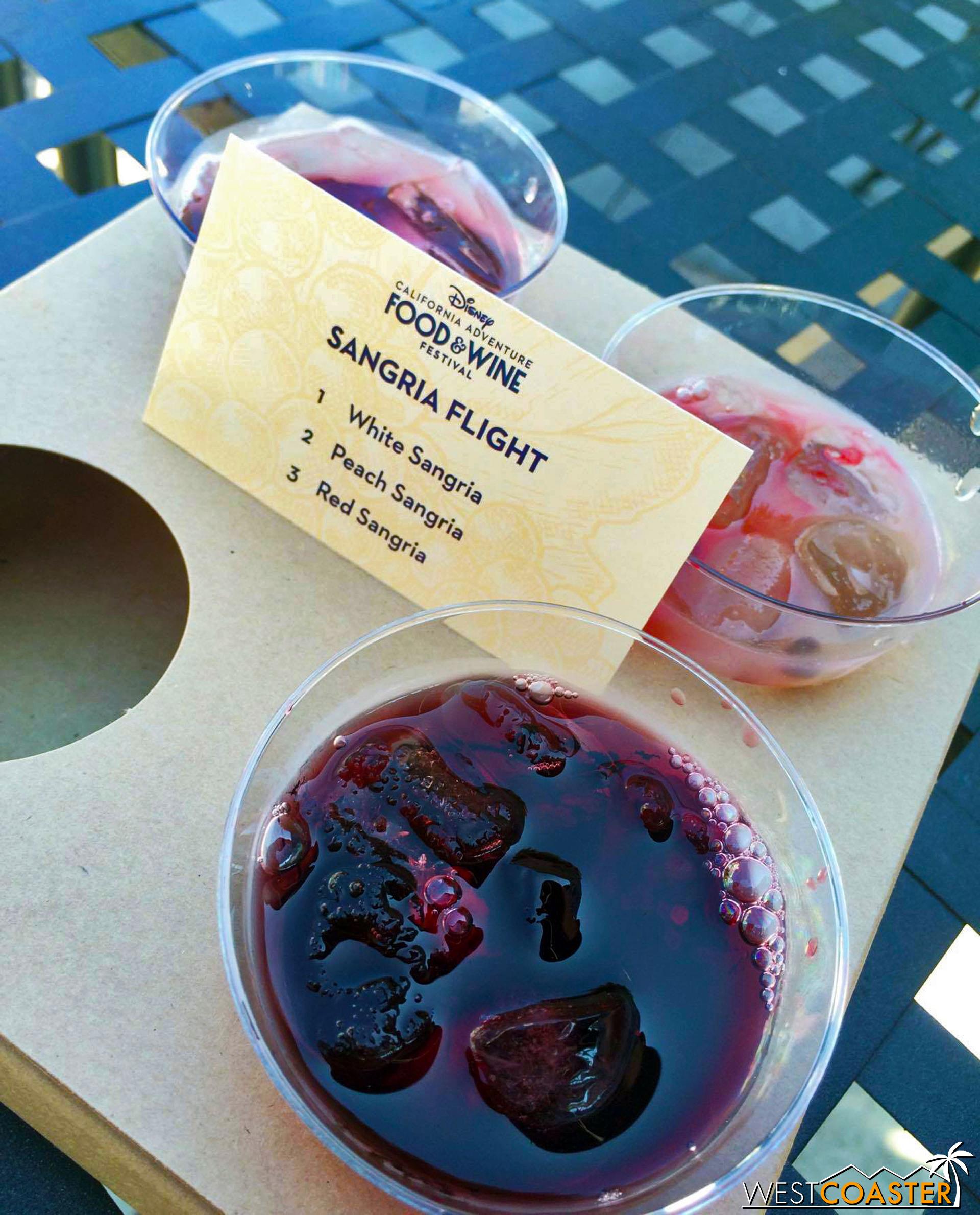 From Wineology:  Flight - Sangria   White Sangria, Peach Sangria, Red Sangria ($9.50)  (Photo Credit: Jessica S.)