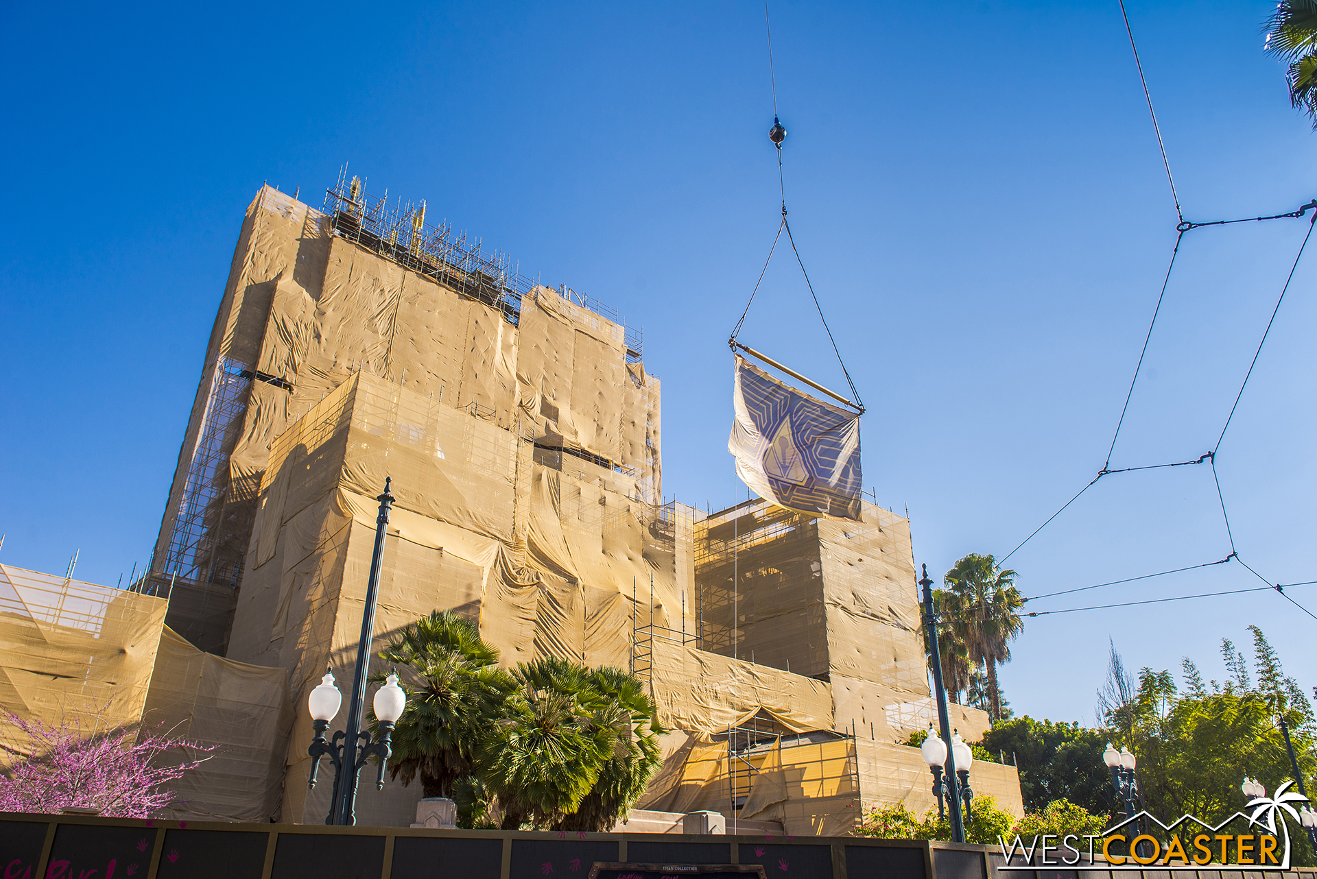 The adjacent crane has lifted a banner showing off the Guardians iconography.