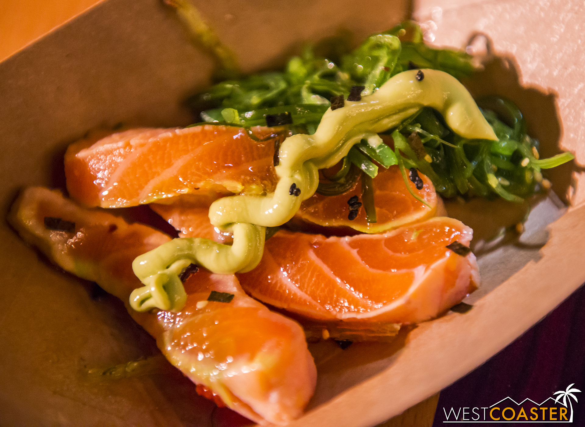 """And a big of food porn while we're talking about Food and Wine... the Salmon Tataki from the """"Sustainable Fish"""" marketplace stand."""