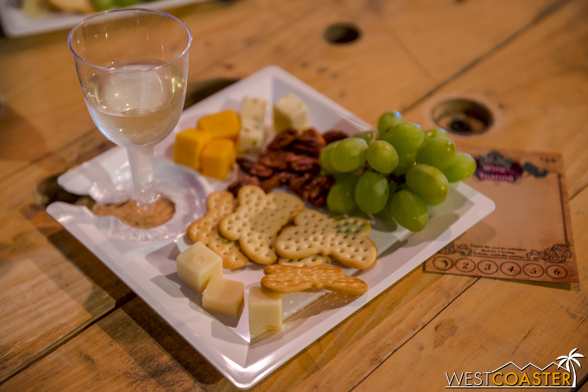 Complementary tasting tray.  Overall, the wine here is an enjoyable, generally good selection.  Nothing amazing, but good quality for the general populace, with enough quality that snobs should also enjoy things.