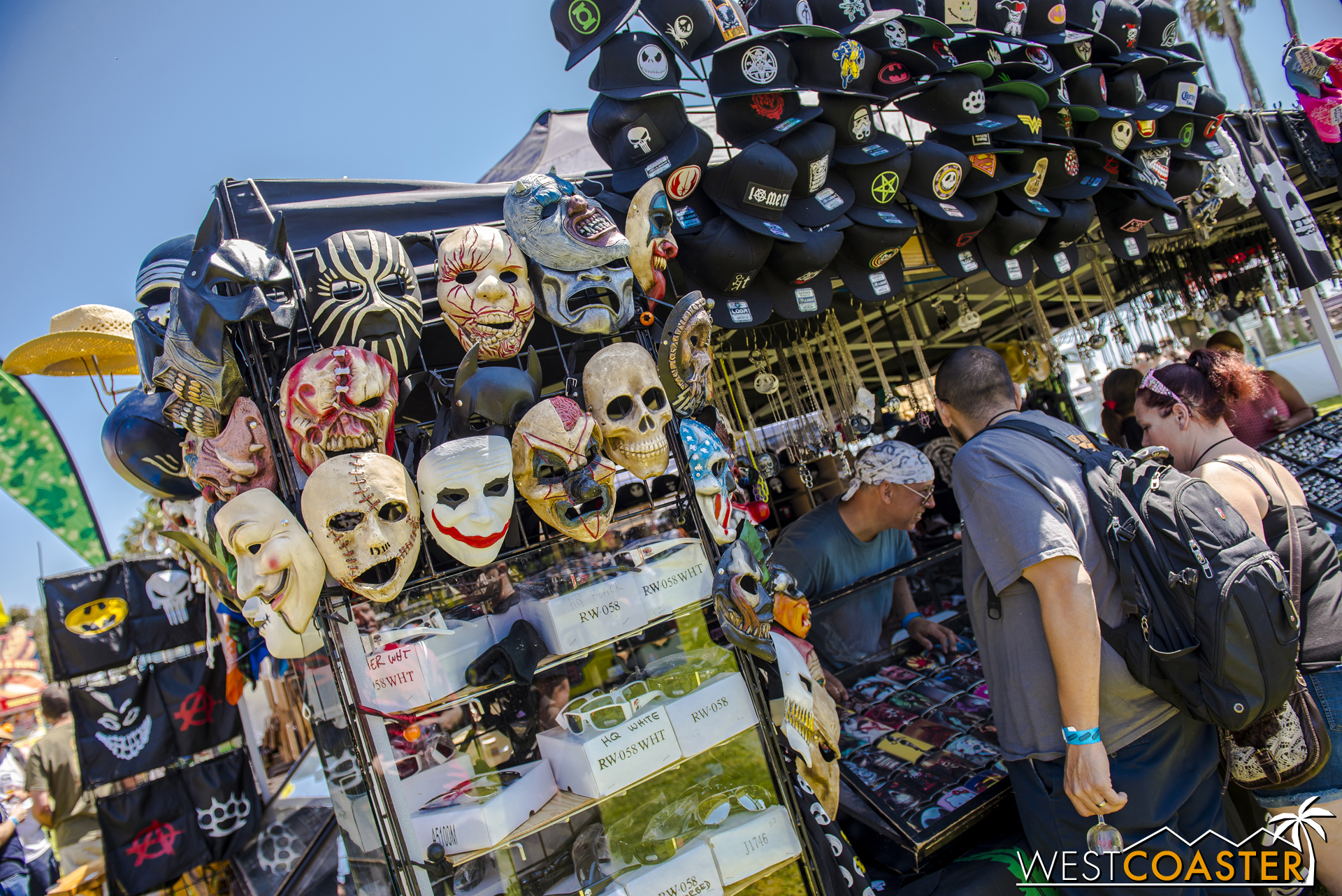 There were also vendors selling various types of merchandise, including masks.