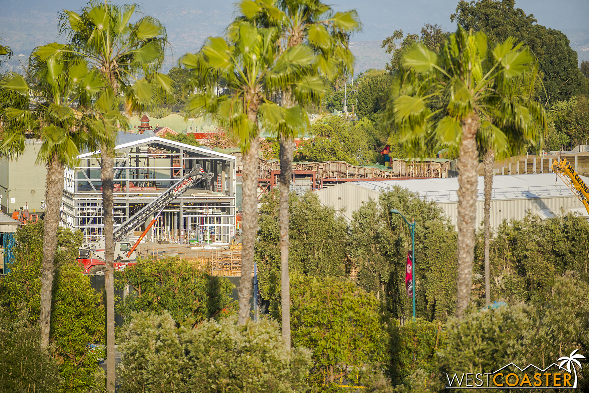 Lastly, though I've been taking a ton of photos of this ultimately inconsequential (to guests) backstage building, work on the Millennium Falcon attraction has been going on this whole time.  It's right in this shot if you know what to look for.  Unfortunately, the majority of the ride footprint is literally either obscured by the trees along Disneyland Drive or by the First Order show building, depending on the angle.  The ride is still grading and foundation prep right now.  It will probably get more obvious once it goes vertical.