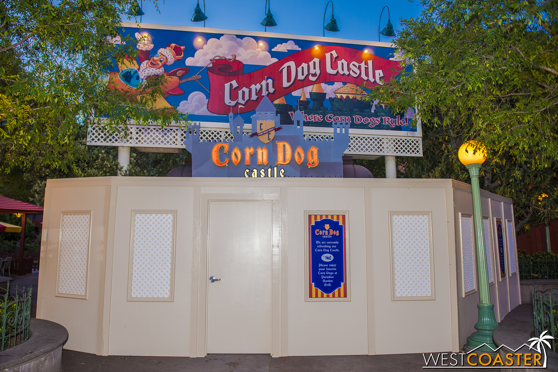 Corn Dog Castle is currently closed at DCA's Paradise Pier.