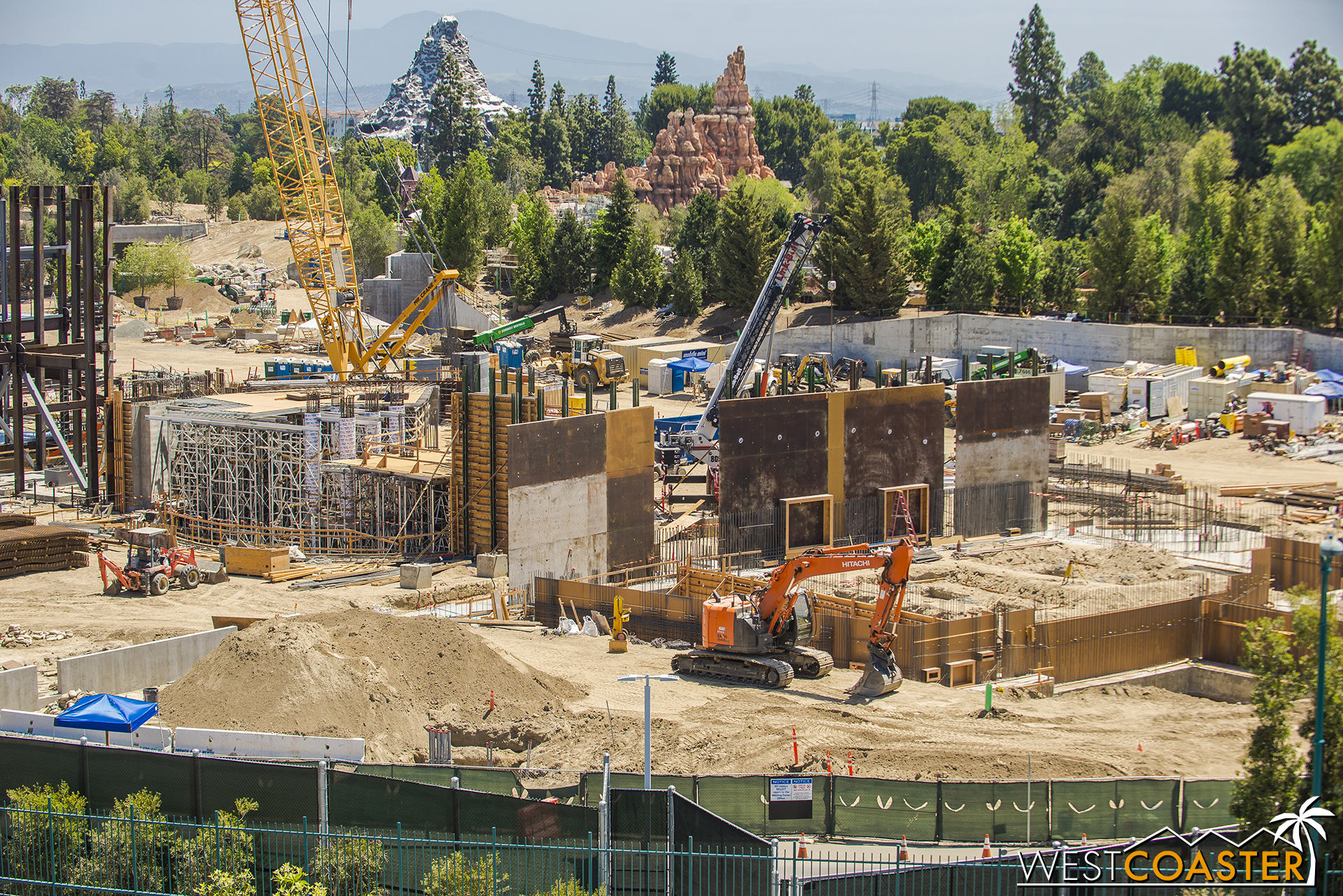 And though it's tough to identify scale on a photo taken from so far away, let me assure you that the formwork for those concrete walls is pretty damn tall.