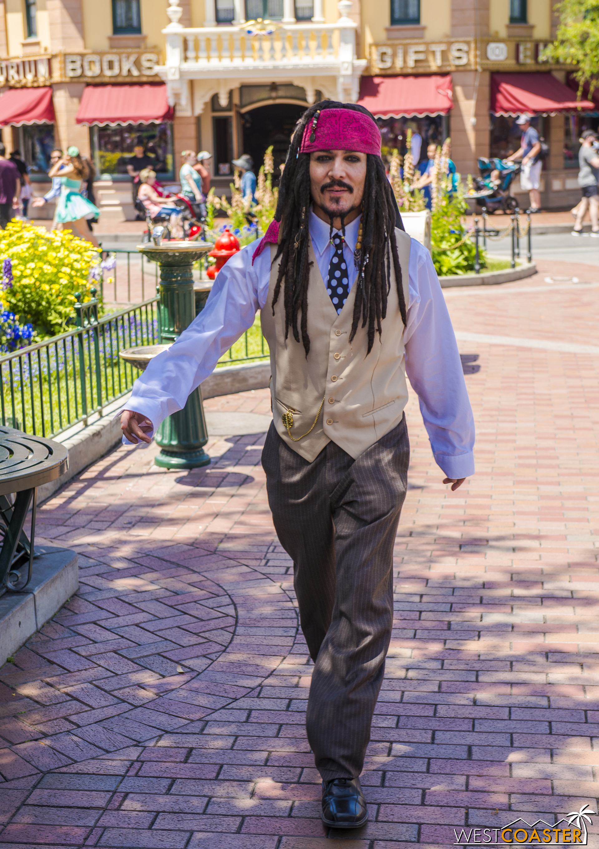 Frequent Disneyland visitors may recognize this gentleman, who typically walks around looking like Captain Jack Sparrow.